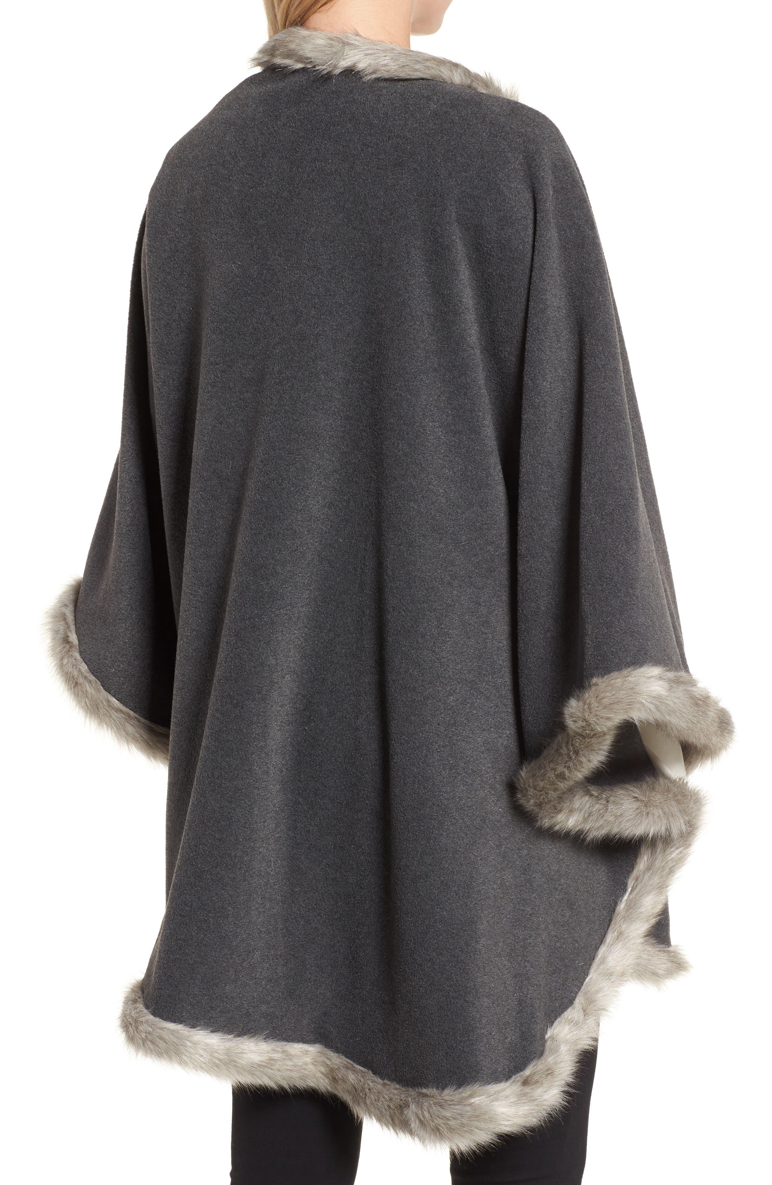 Tara Faux Fur Trim Wrap,                             Alternate thumbnail 2, color,                             Charcoal/ Granite Fox