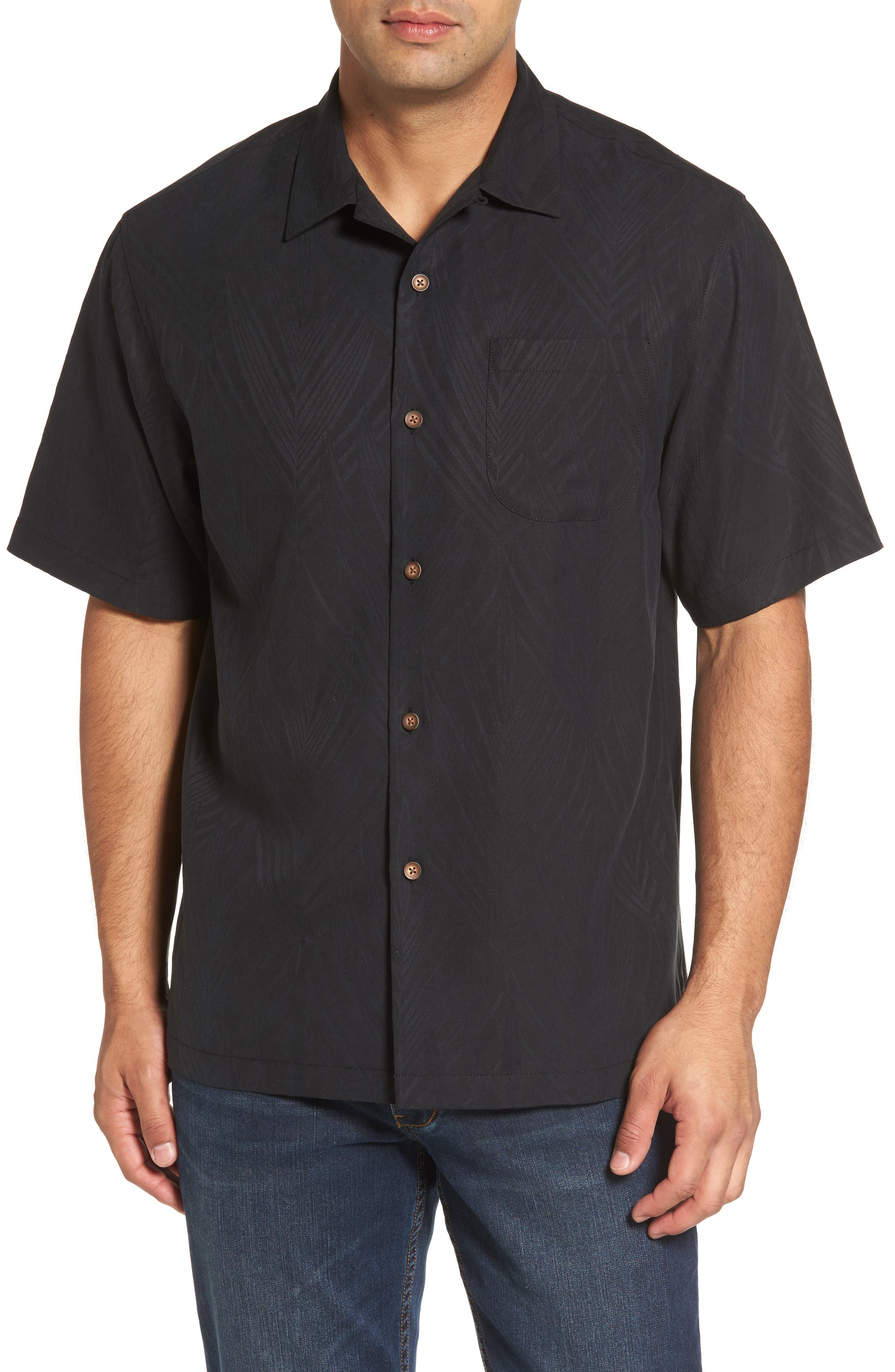 Local Watering Hole Embroidered Silk Camp Shirt,                             Main thumbnail 1, color,                             Black
