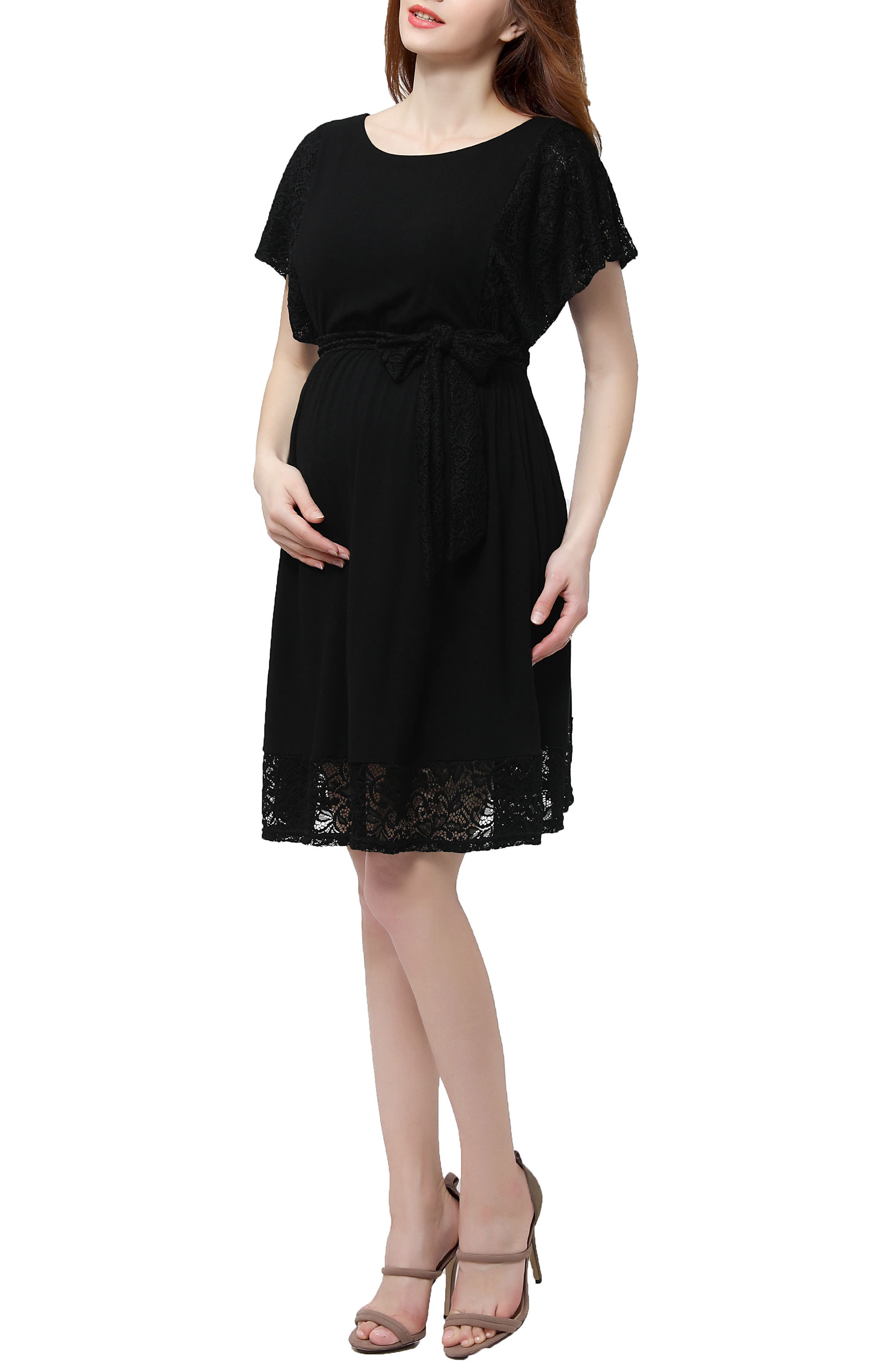 Alternate Image 5  - Kimi and Kai Alison Lace Trim Maternity Dress