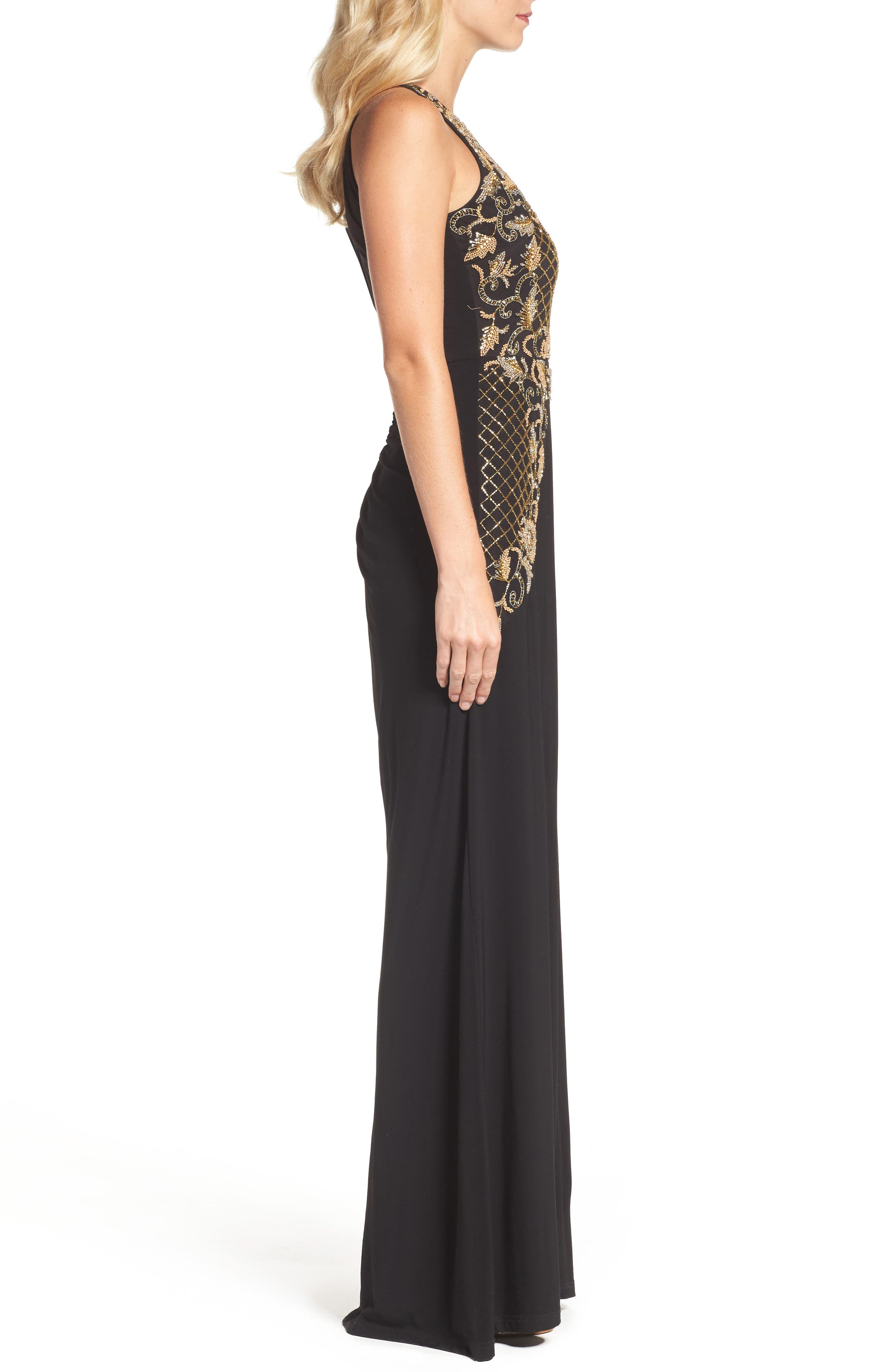Beaded Gown,                             Alternate thumbnail 3, color,                             Black Gold