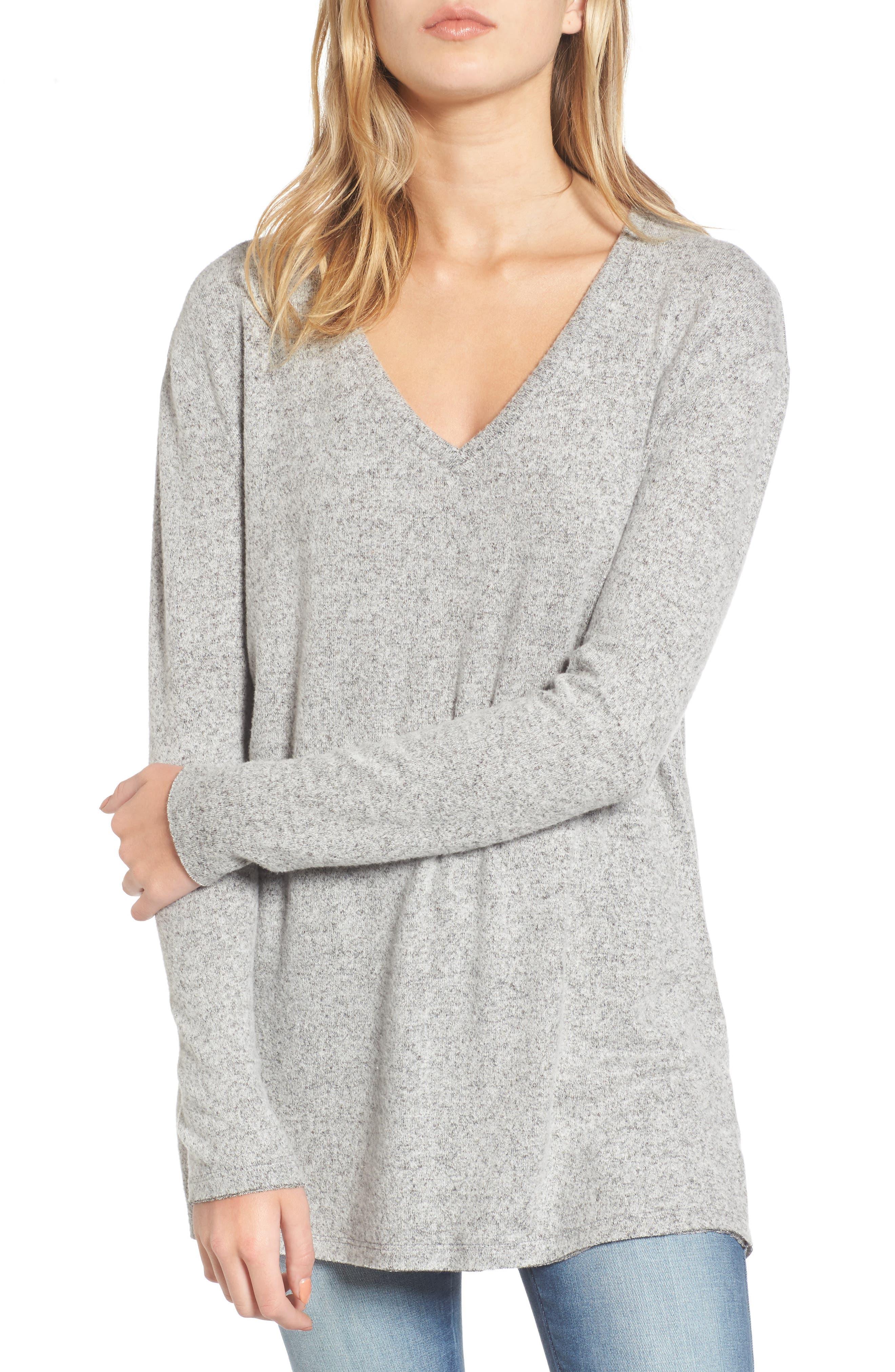 V-Neck Long Sleeve Sweater,                         Main,                         color, Grey Medium Heather