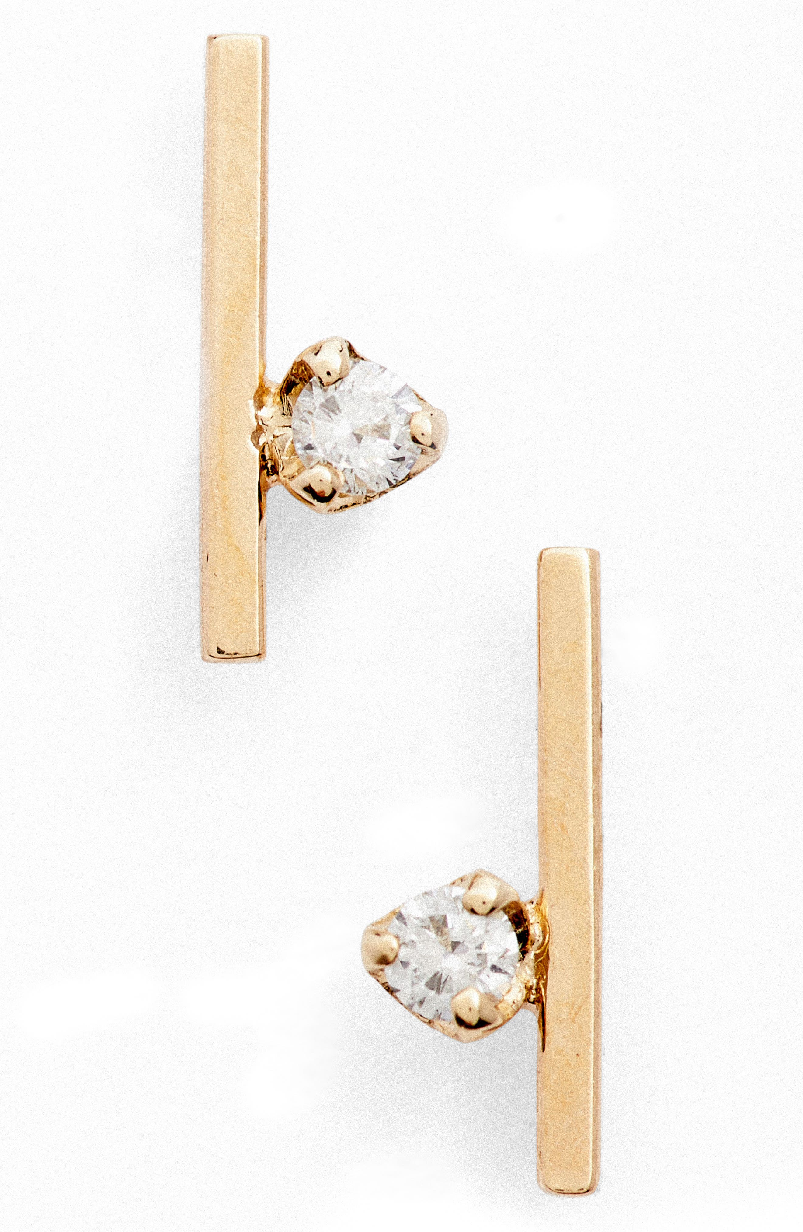 Floating Diamond Stud Earrings,                         Main,                         color, Yellow Gold