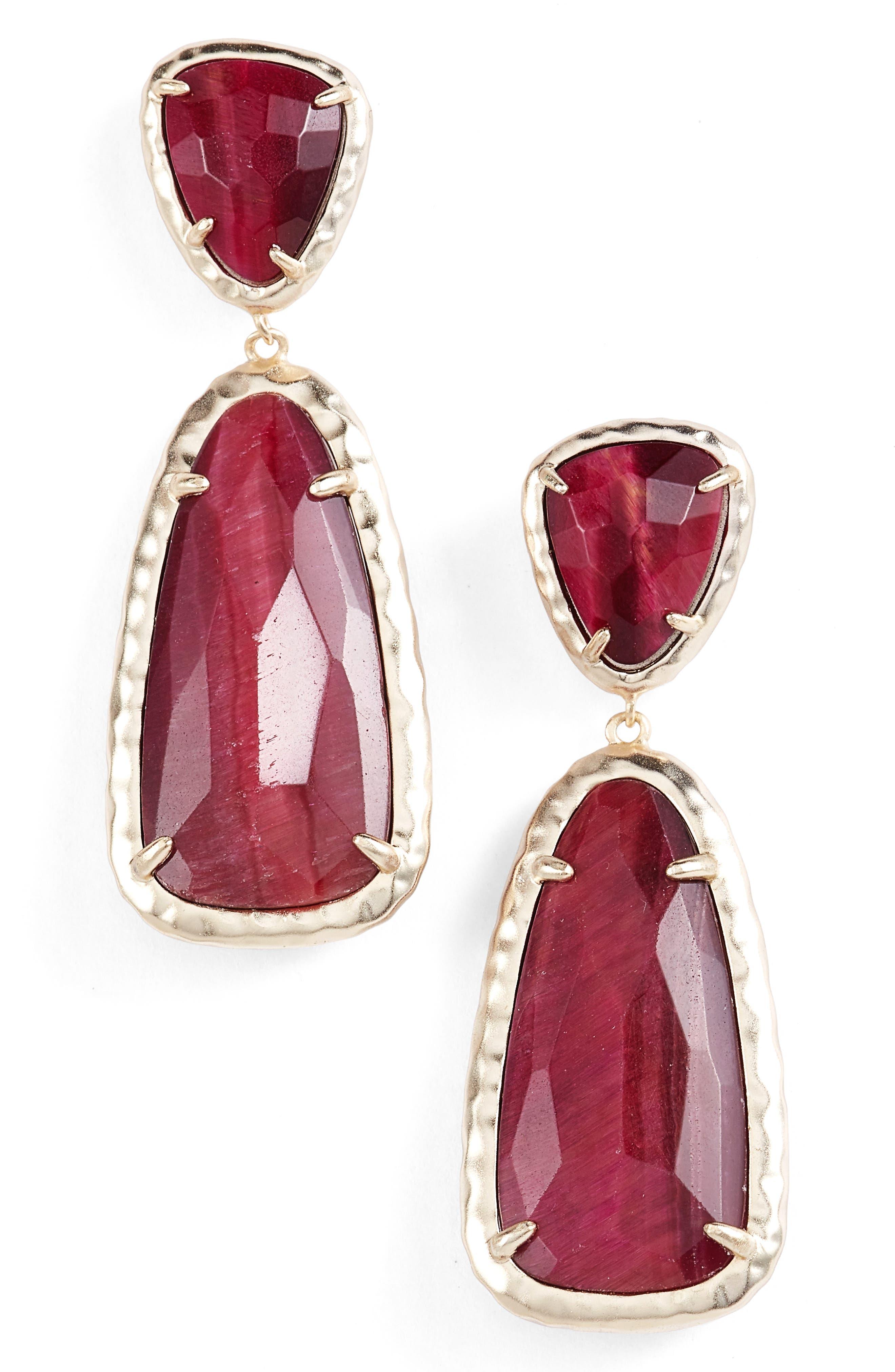 Daria Drop Earrings,                             Main thumbnail 1, color,                             Bordeaux Tiger Eye/ Gold