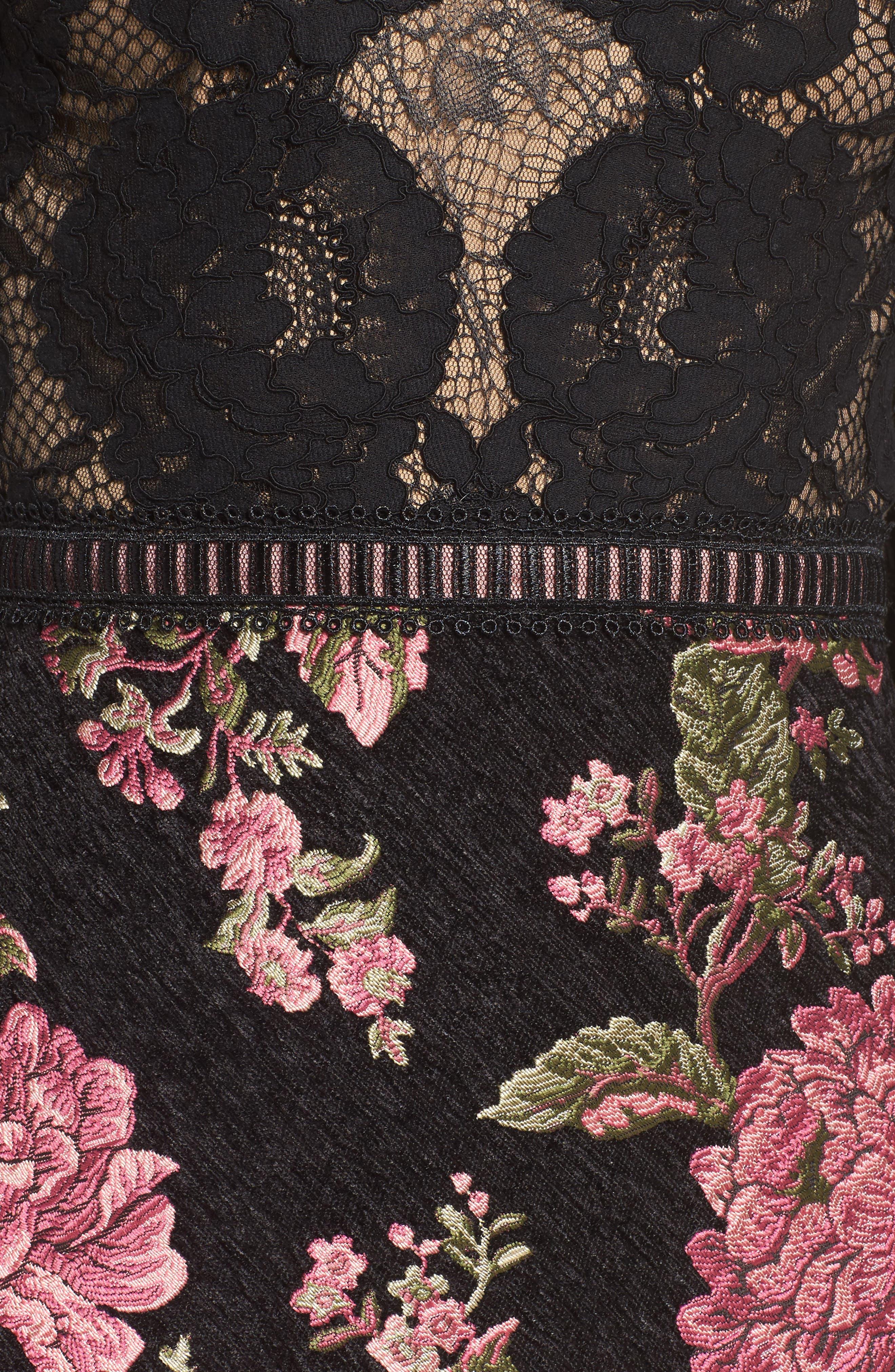 Lace & Brocade Sheath Dress,                             Alternate thumbnail 5, color,                             Black