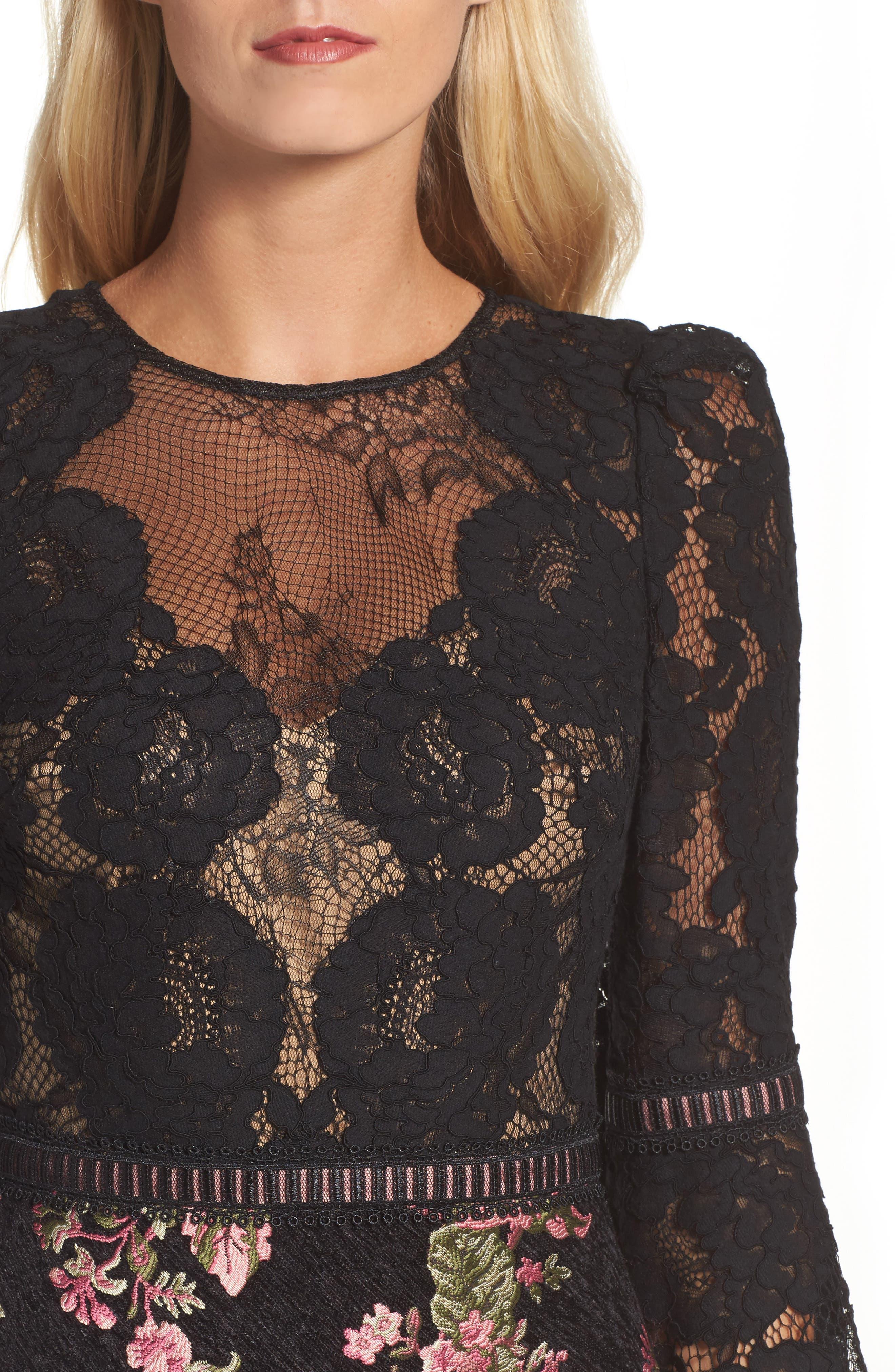 Lace & Brocade Sheath Dress,                             Alternate thumbnail 4, color,                             Black