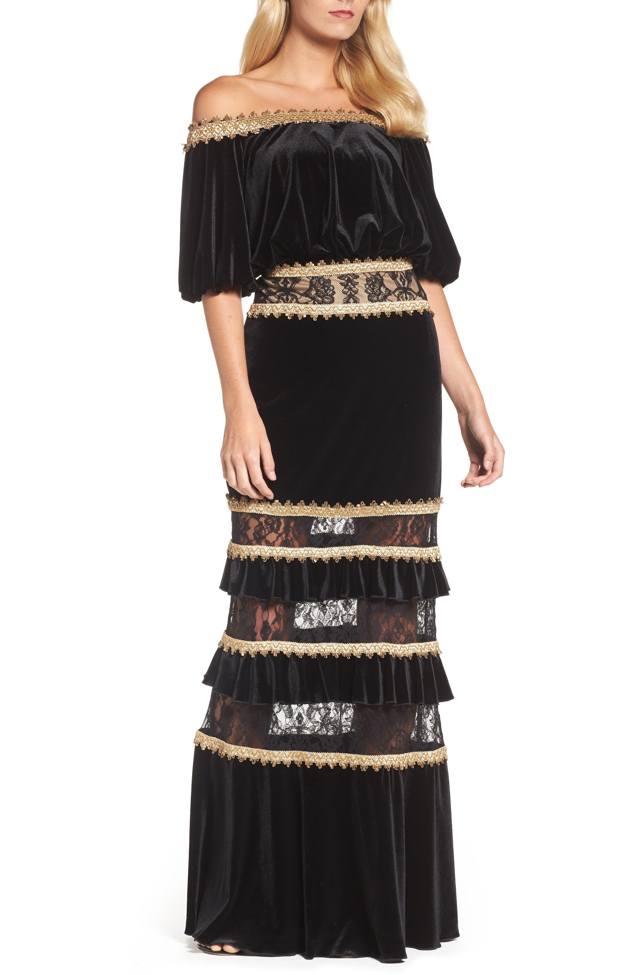 Velvet Ruffle & Lace Off the Shoulder Gown,                         Main,                         color, Black/ Gold
