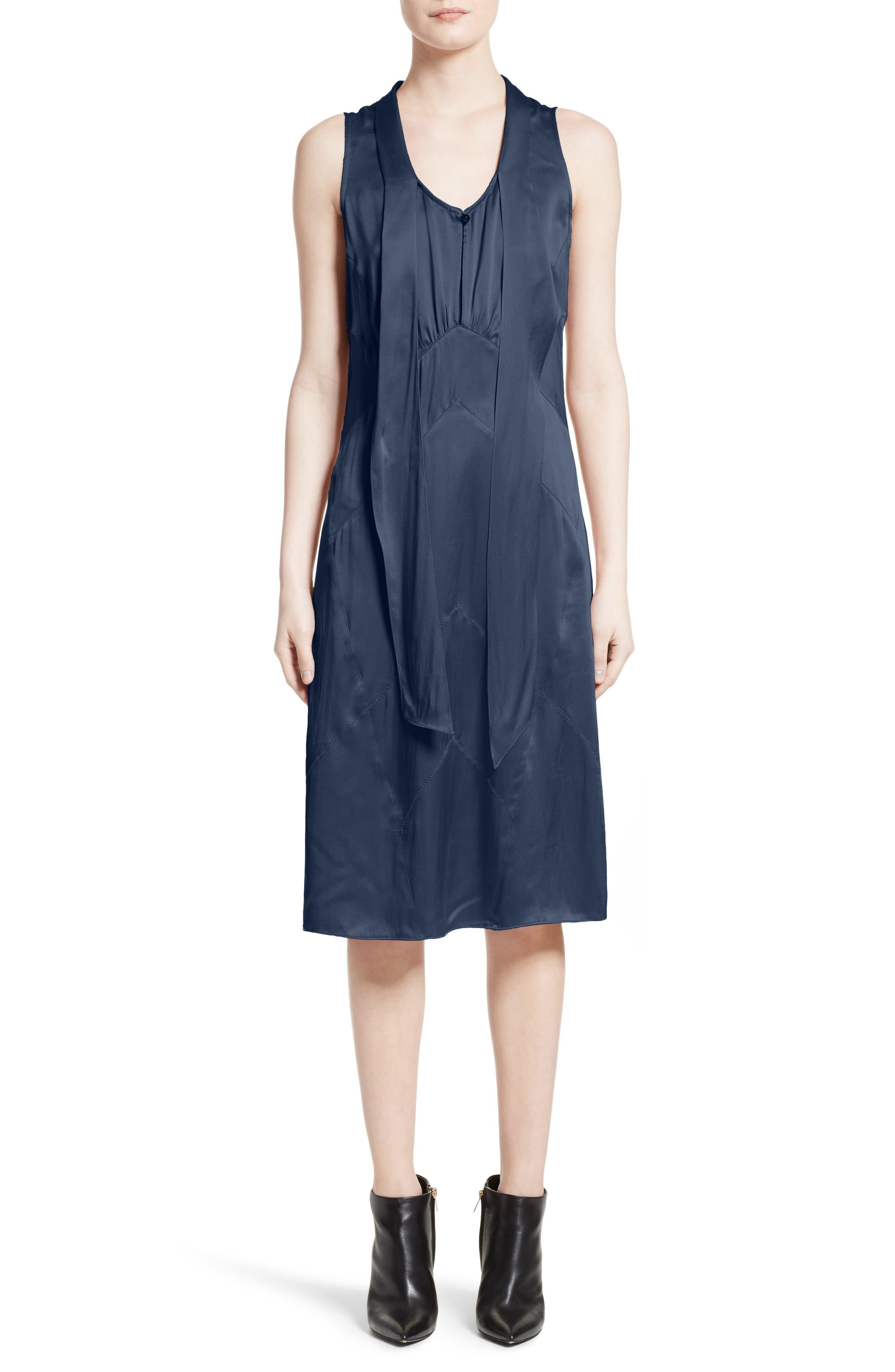 Cathy Tie Neck Silk Dress,                         Main,                         color, Navy