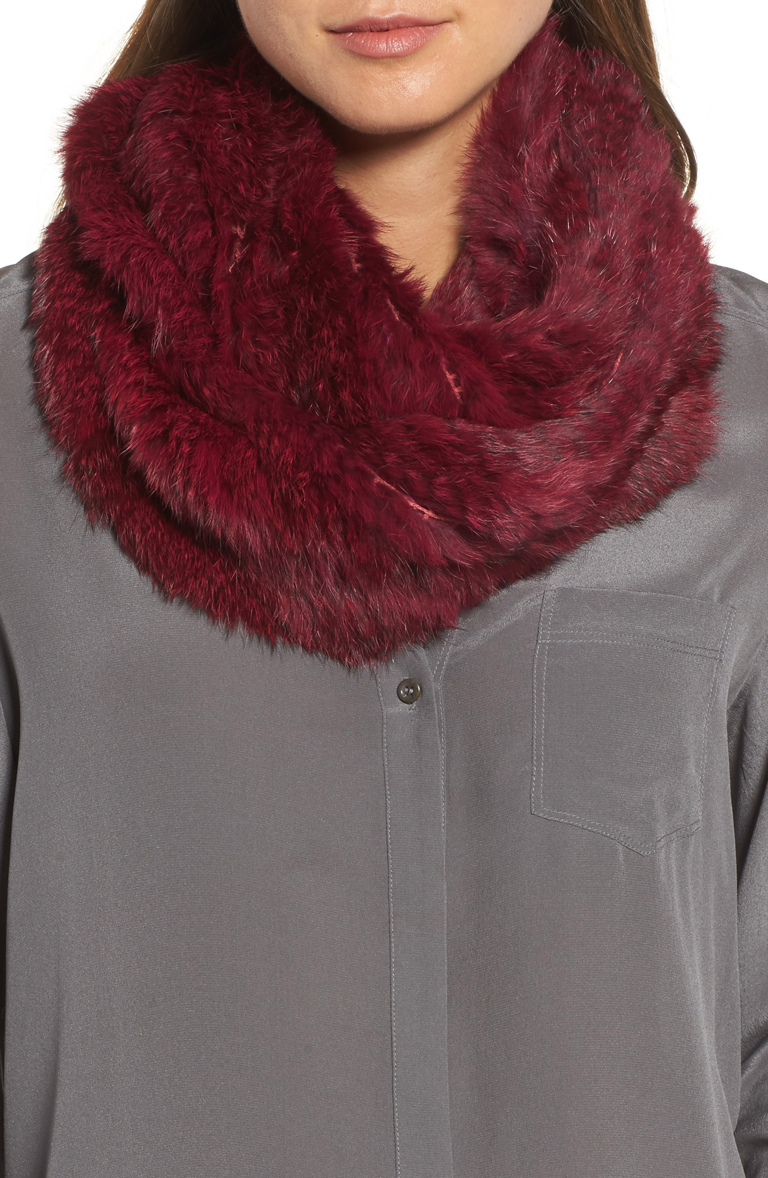 Overdyed Genuine Rabbit Fur Infinity Scarf,                         Main,                         color, Ruby