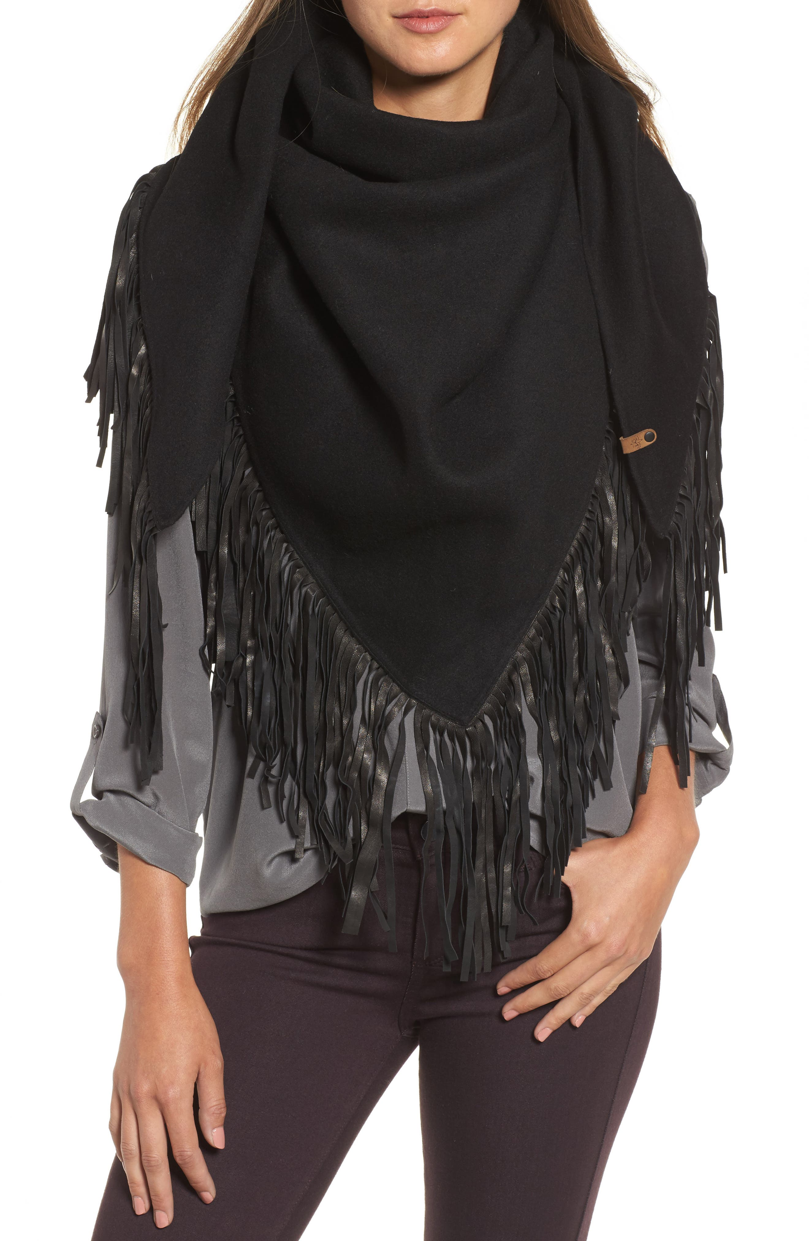 Alternate Image 4  - Mackage Fida Leather Fringe Shawl