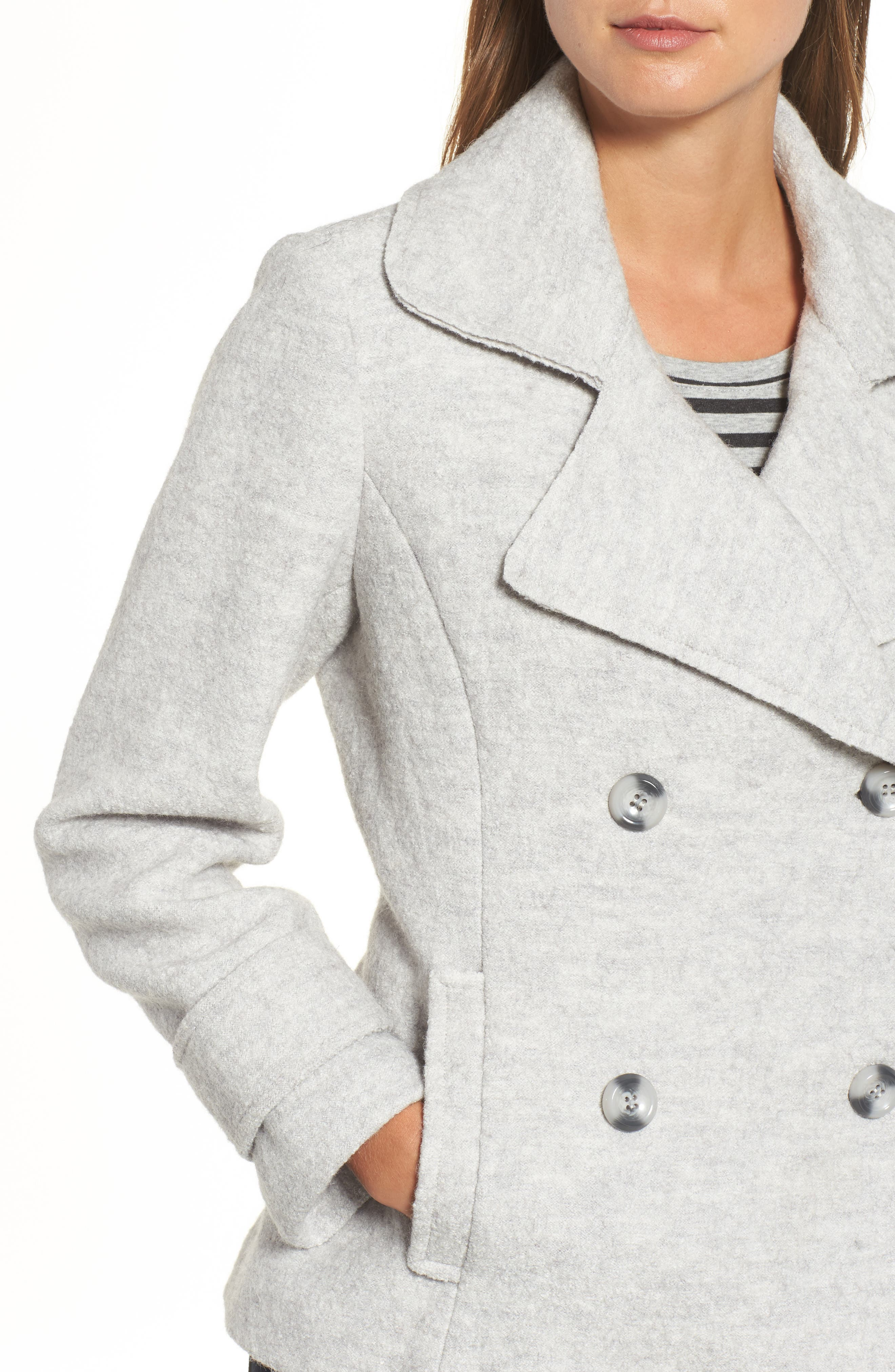 Double Breasted Jacket,                             Alternate thumbnail 4, color,                             Light Grey