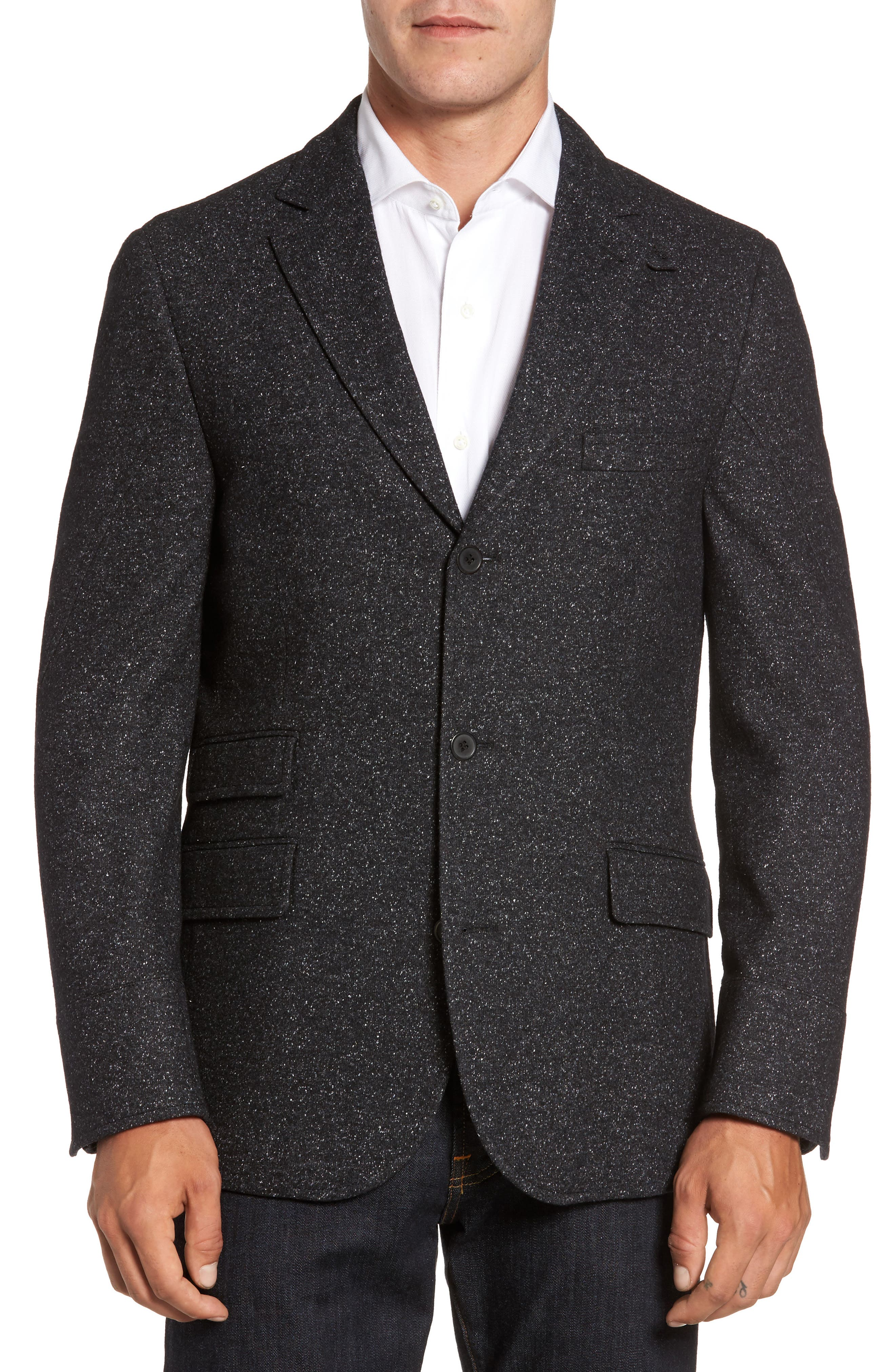 Donegal Wool Blend Hybrid Coat,                             Alternate thumbnail 4, color,                             Charcoal