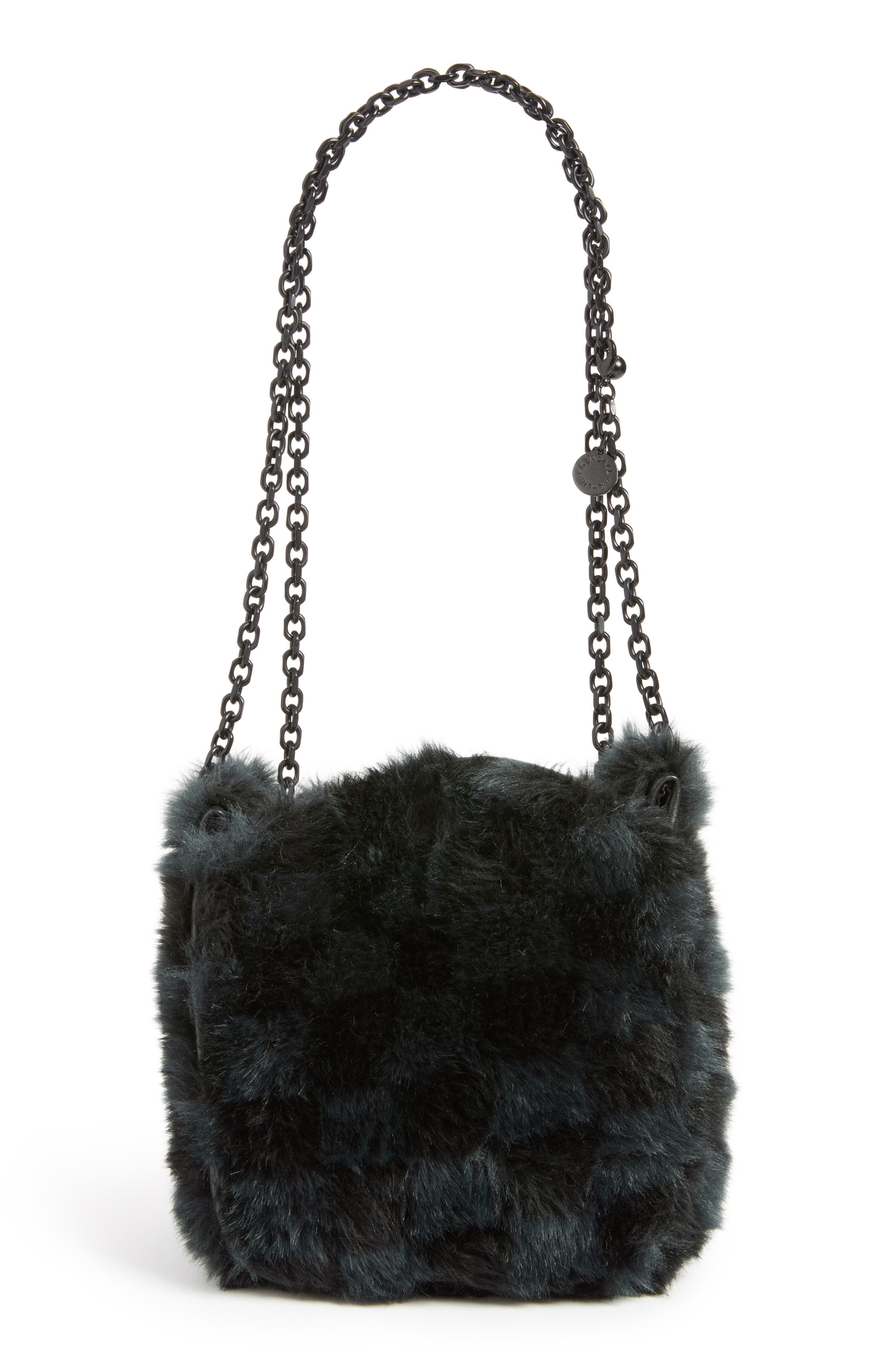 Faux Fur Bucket Bag,                             Alternate thumbnail 4, color,                             Black Checkered