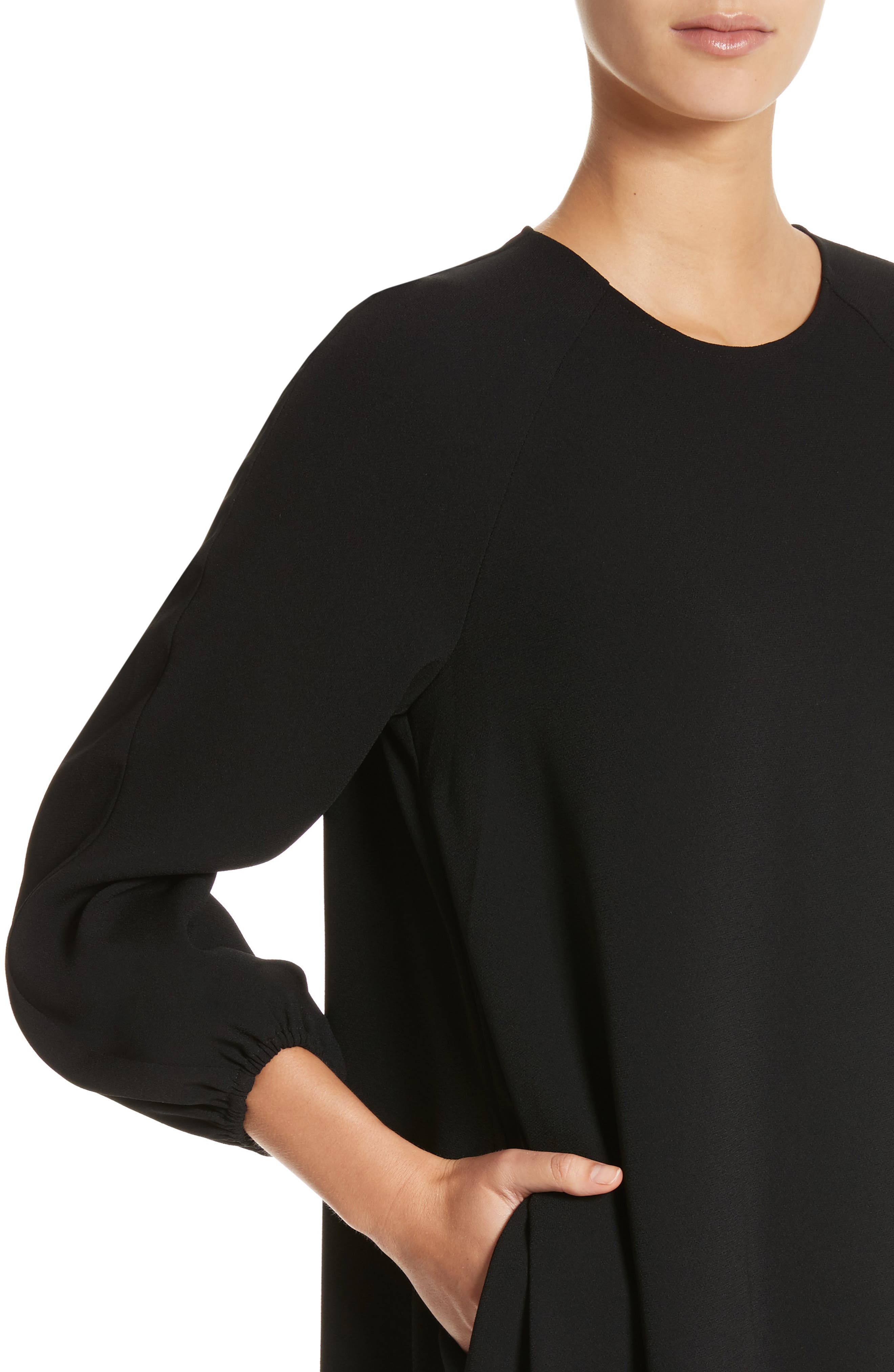Raglan Sleeve Peasant Dress,                             Alternate thumbnail 4, color,                             Black