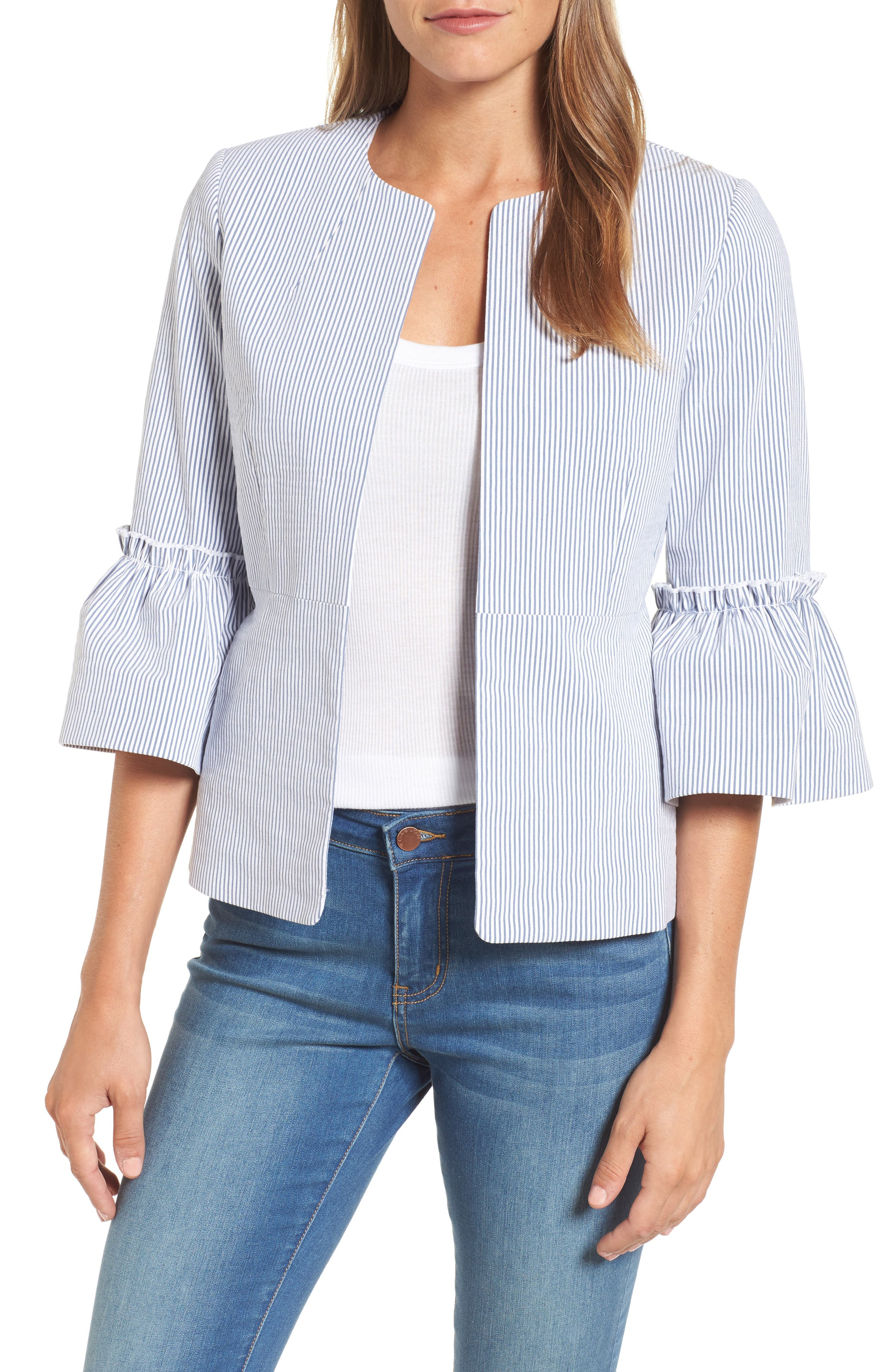 Ruffle Sleeve Open Jacket,                             Main thumbnail 1, color,                             Blue- White Seersucker