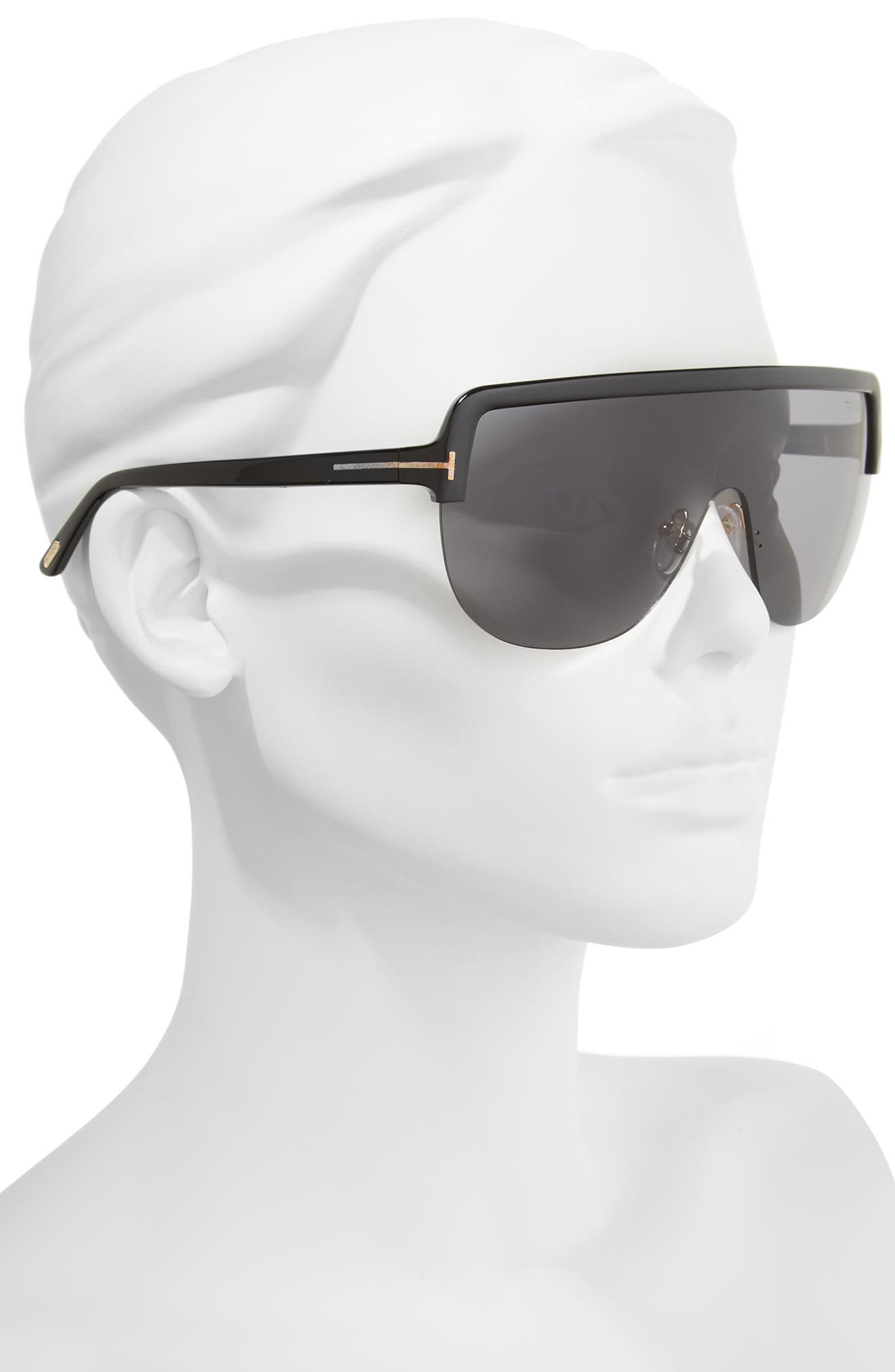 Angus Shield Sunglasses,                             Alternate thumbnail 2, color,                             Shiny Black/ Smoke