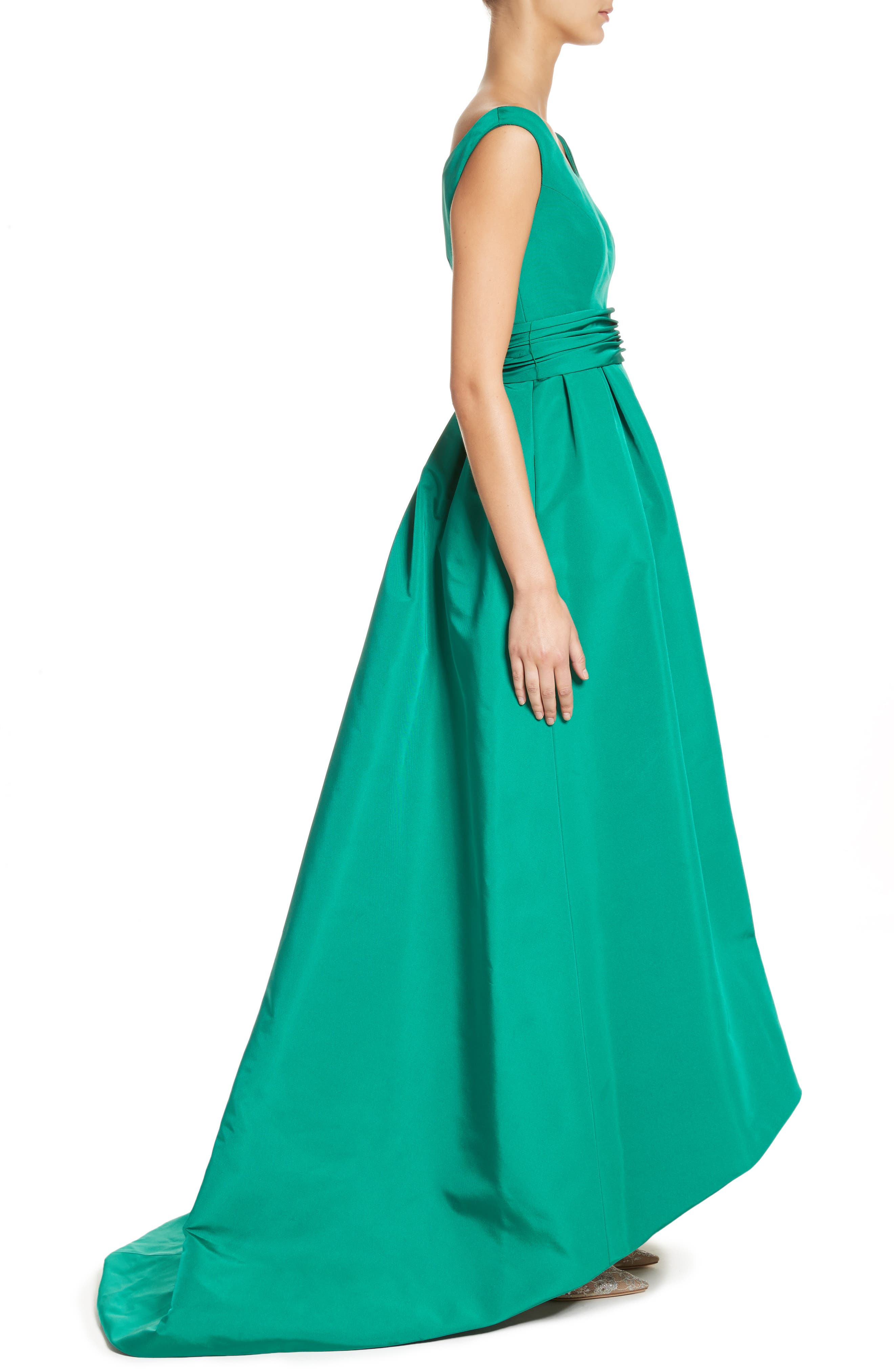 Off the Shoulder Silk Faille Gown,                             Alternate thumbnail 3, color,                             Green