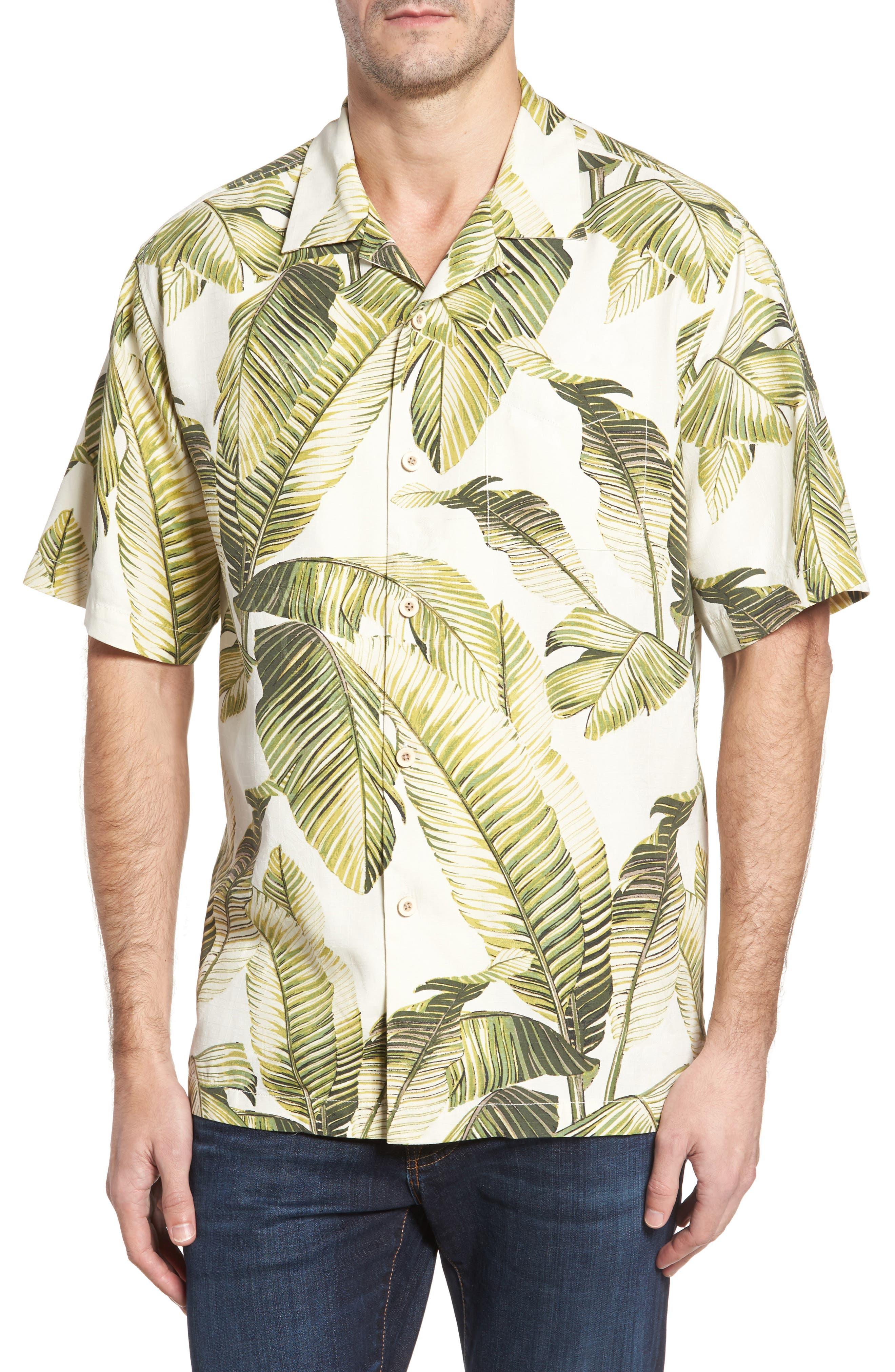 Cascara Fronds Classic Fit Silk Camp Shirt,                         Main,                         color, Coconut Cream
