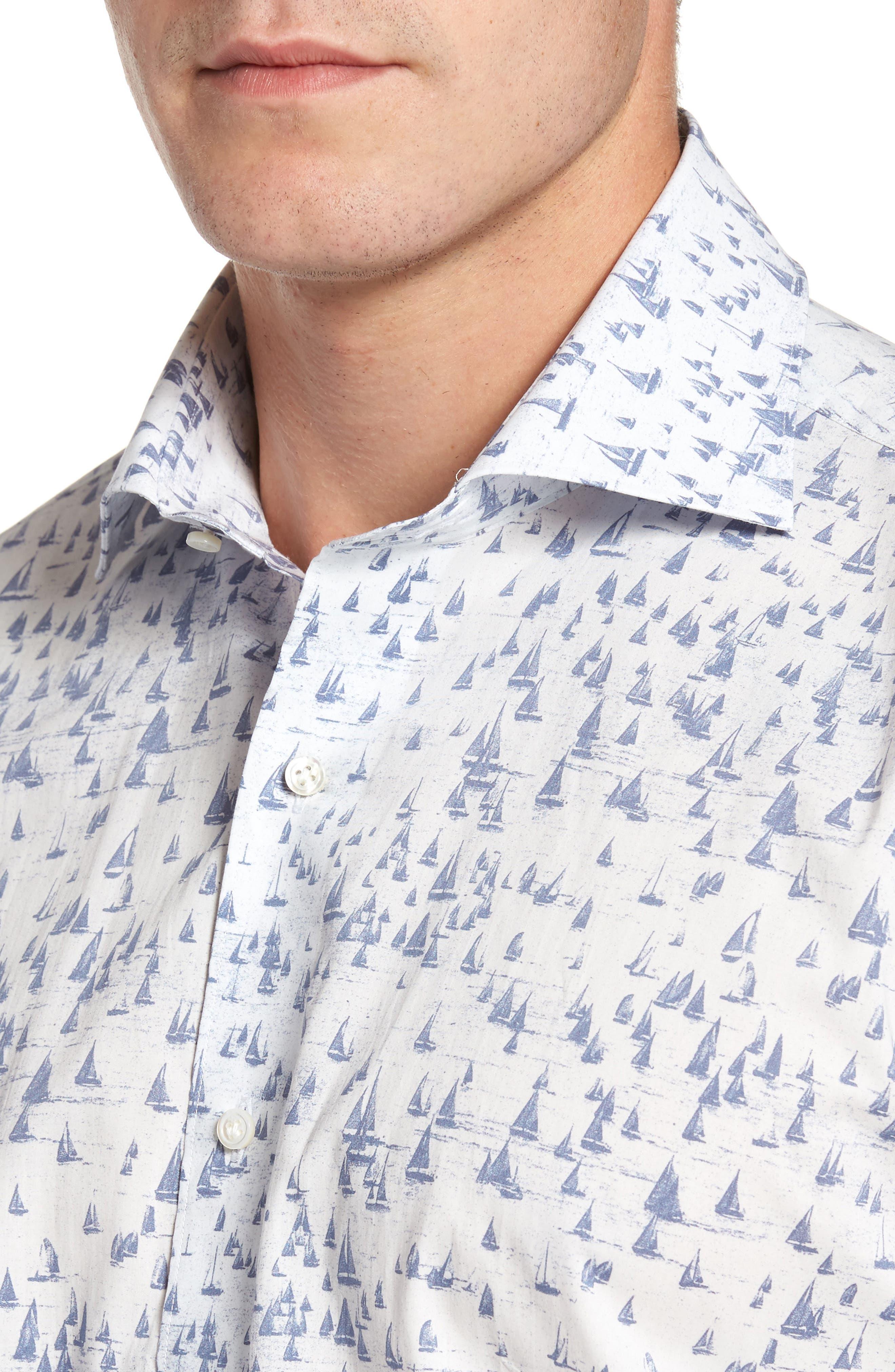 Smooth Sailin' Print Woven Shirt,                             Alternate thumbnail 4, color,                             Avio Blue