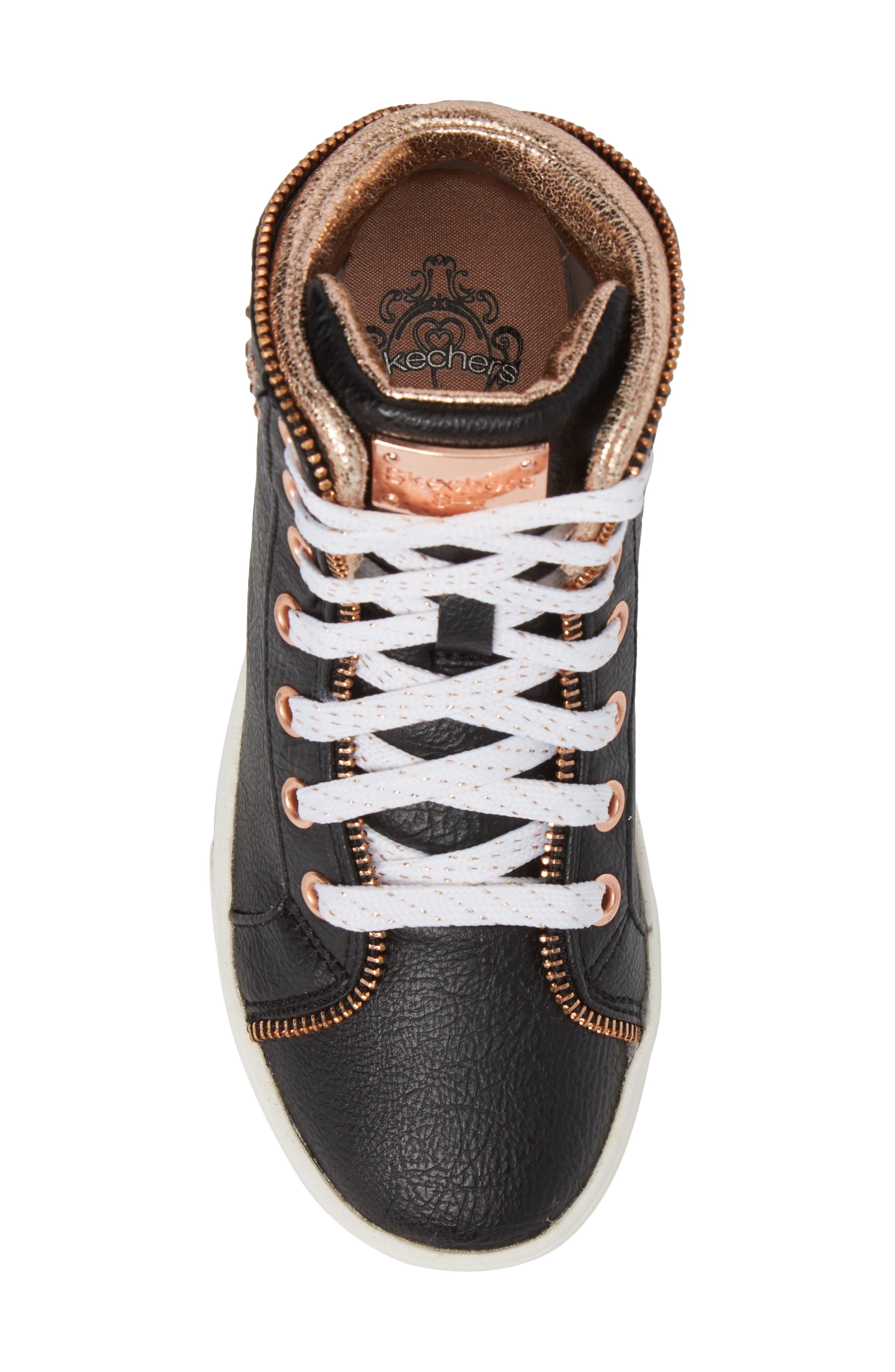 Shoutouts Embellished High Top Sneaker,                             Alternate thumbnail 5, color,                             Black/ Rose Gold