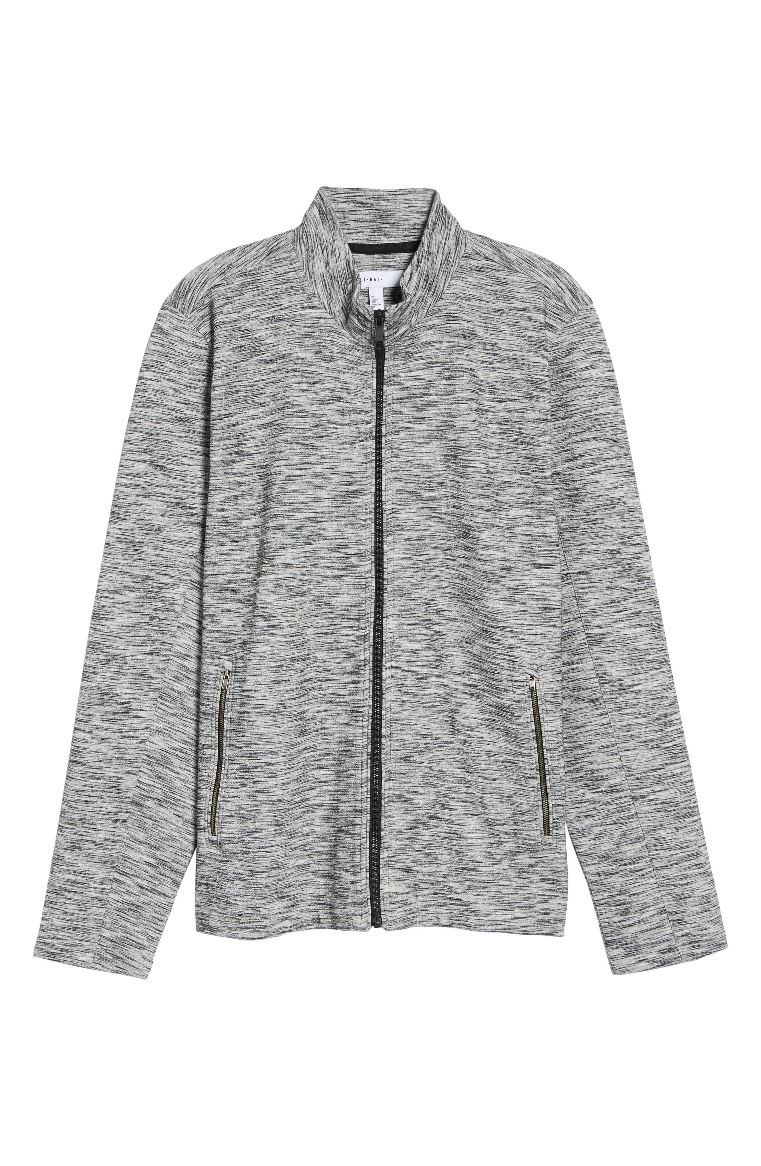 Knit Bomber Jacket,                             Alternate thumbnail 6, color,                             Grey Lunar Spacedye