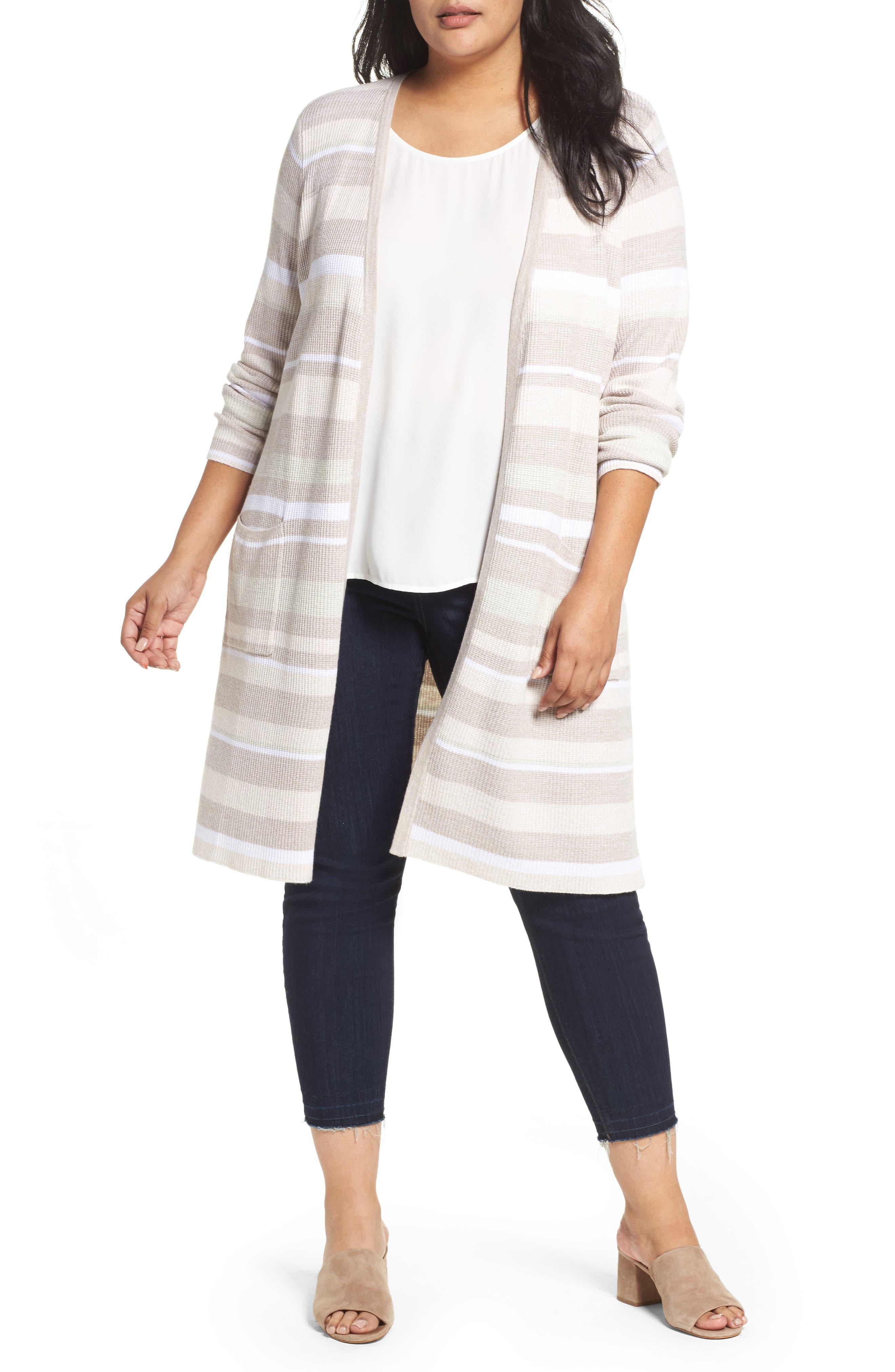 Main Image - Foxcroft Rhona Textured Stripe Longline Cardigan (Plus Size)