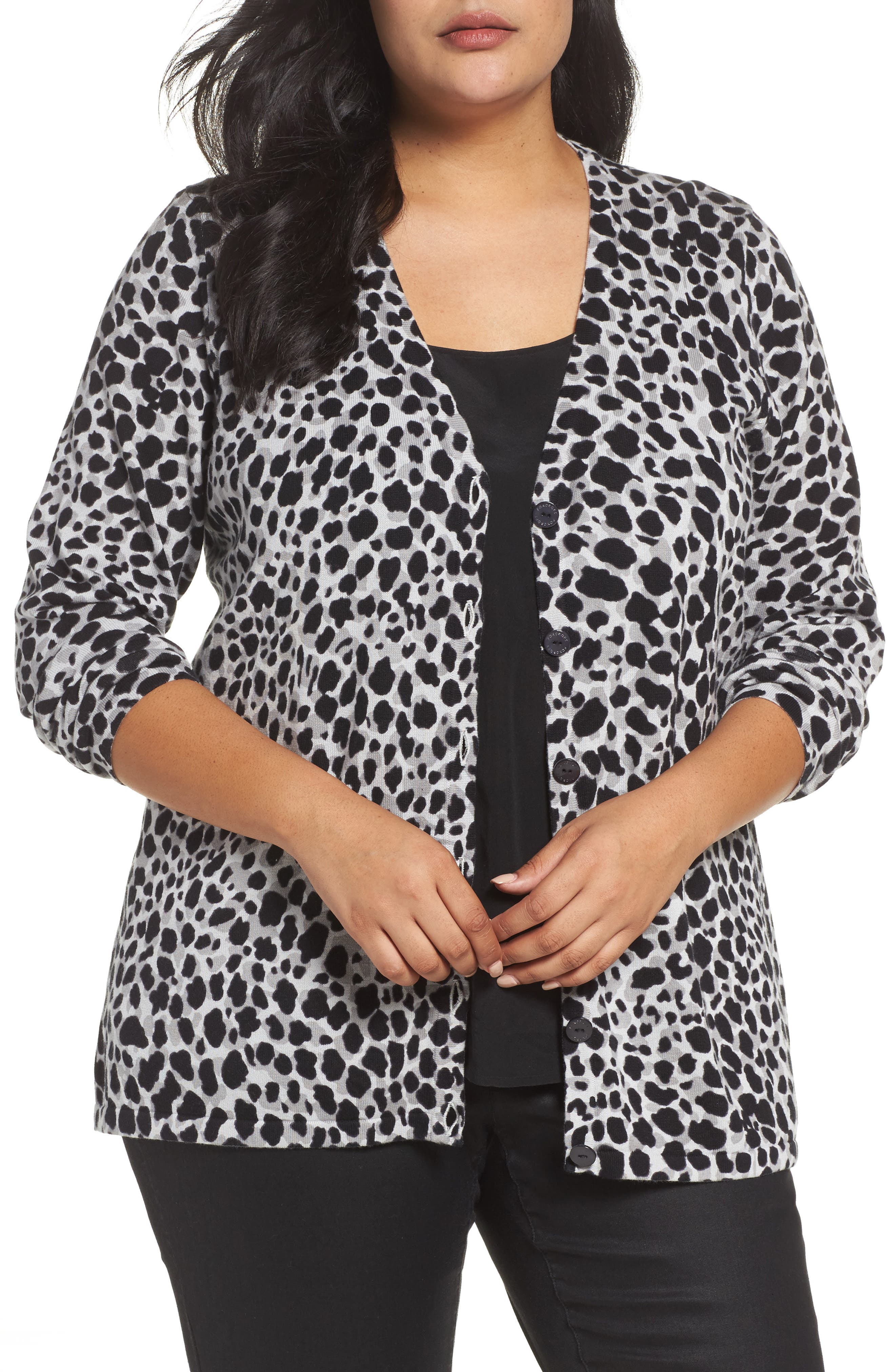 Alternate Image 1 Selected - Foxcroft Maya Leopard Print Cotton Cardigan (Plus Size)