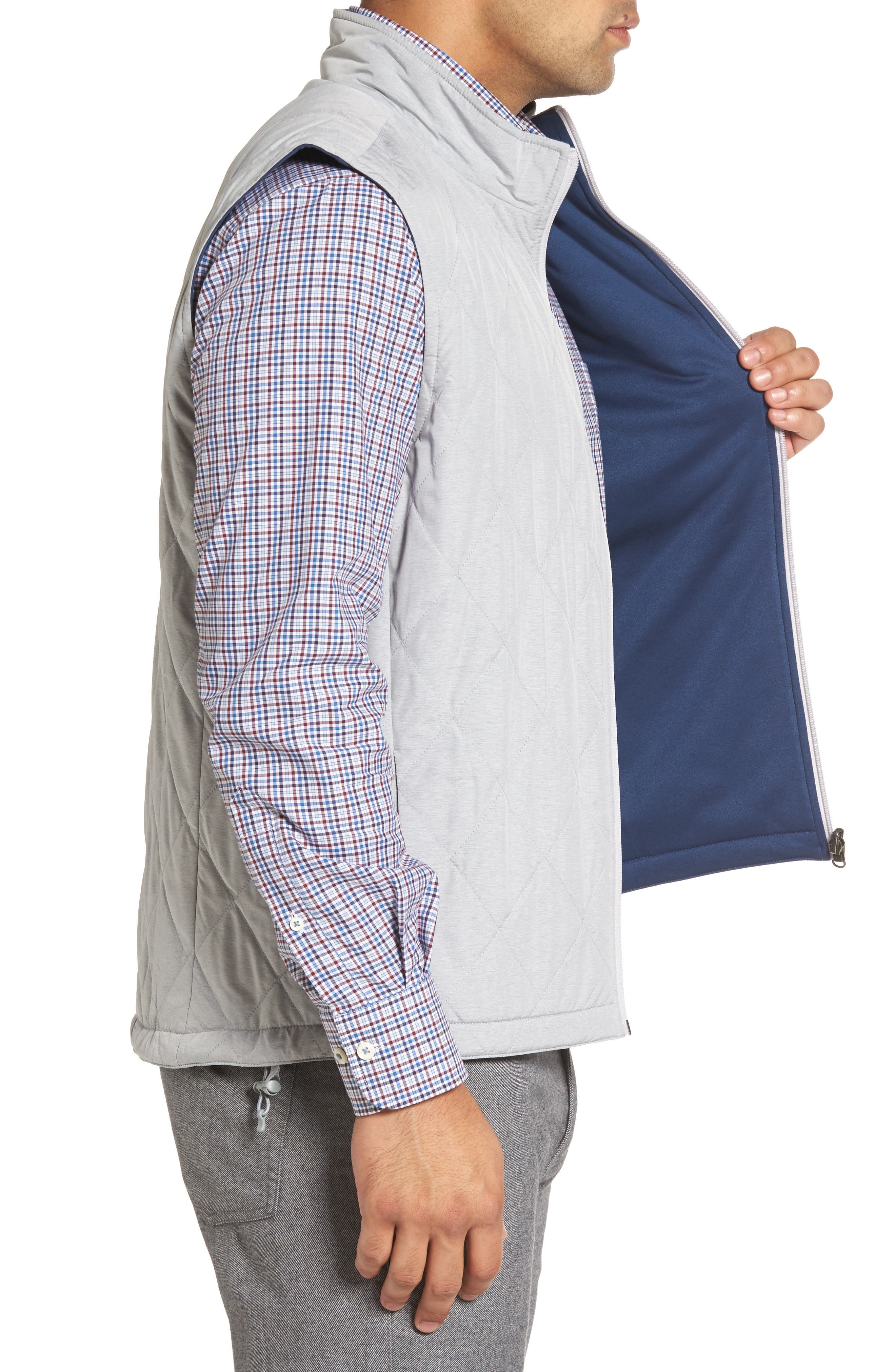 Mitchell Reversible Quilted Vest,                             Alternate thumbnail 3, color,                             British Grey