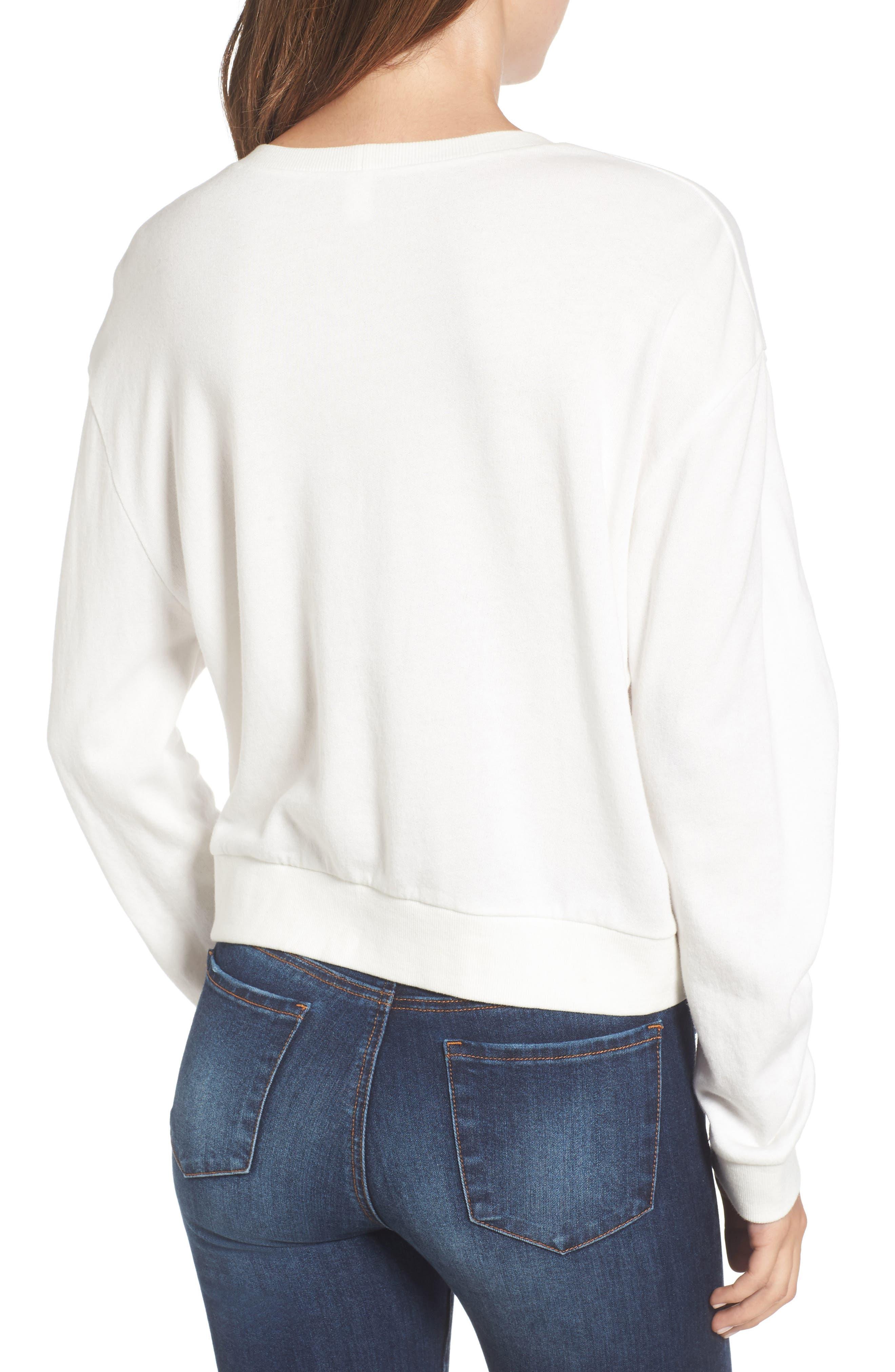Ruched Sleeve Sweatshirt,                             Alternate thumbnail 2, color,                             Ivory Cloud