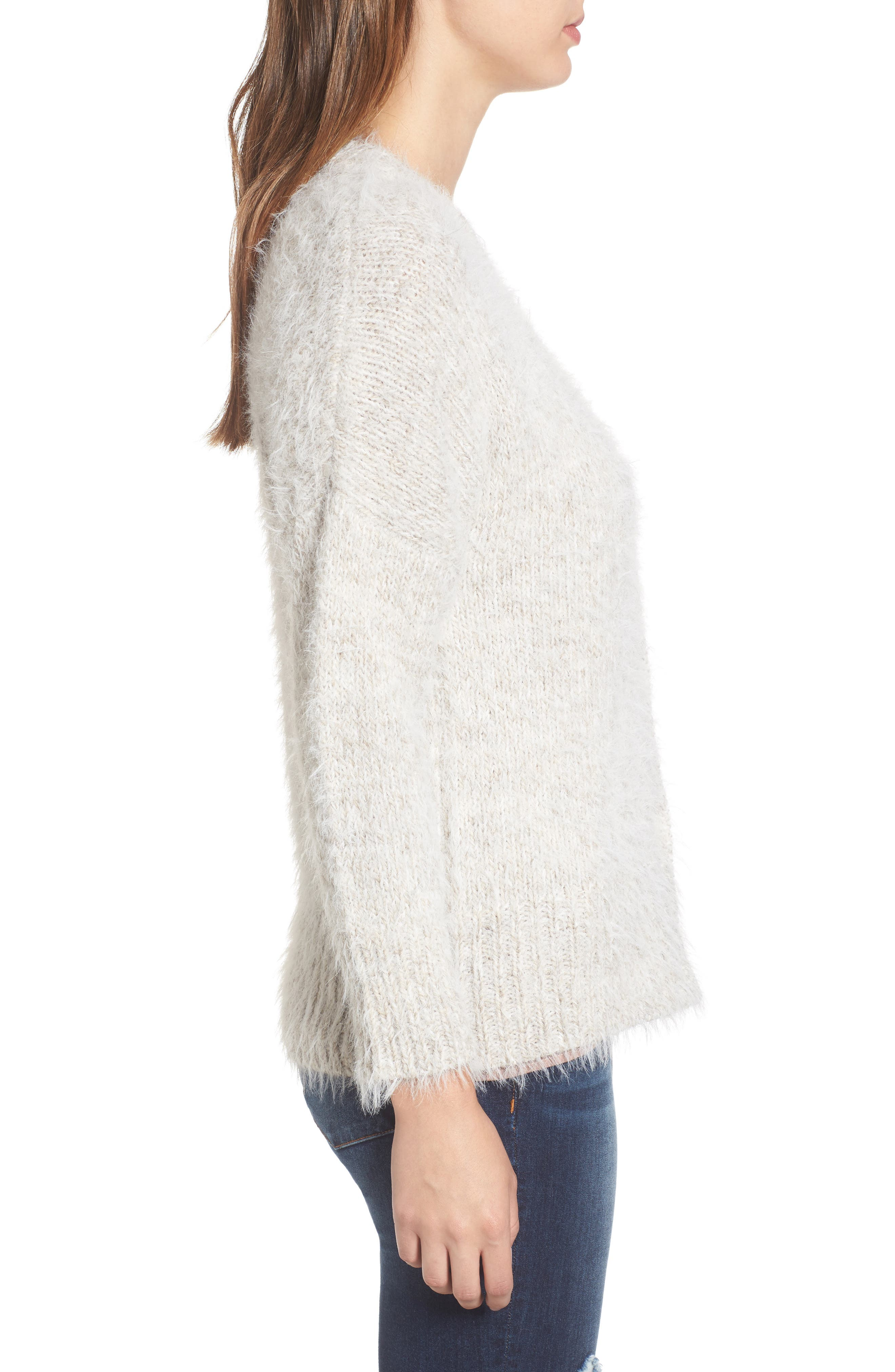 Fuzzy Cardigan,                             Alternate thumbnail 3, color,                             Grey Chateau