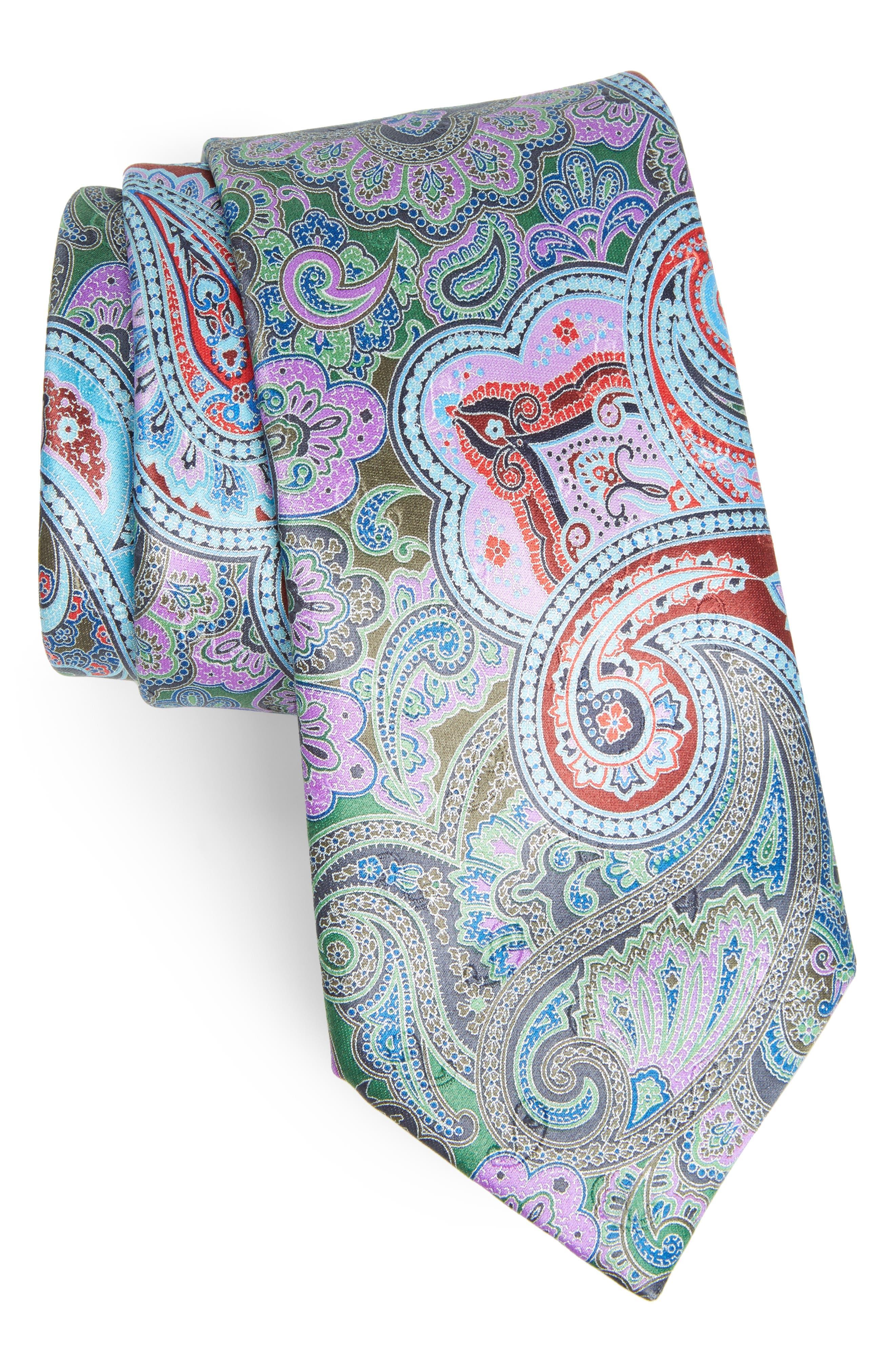Quindici Paisley Silk Tie,                         Main,                         color, Green