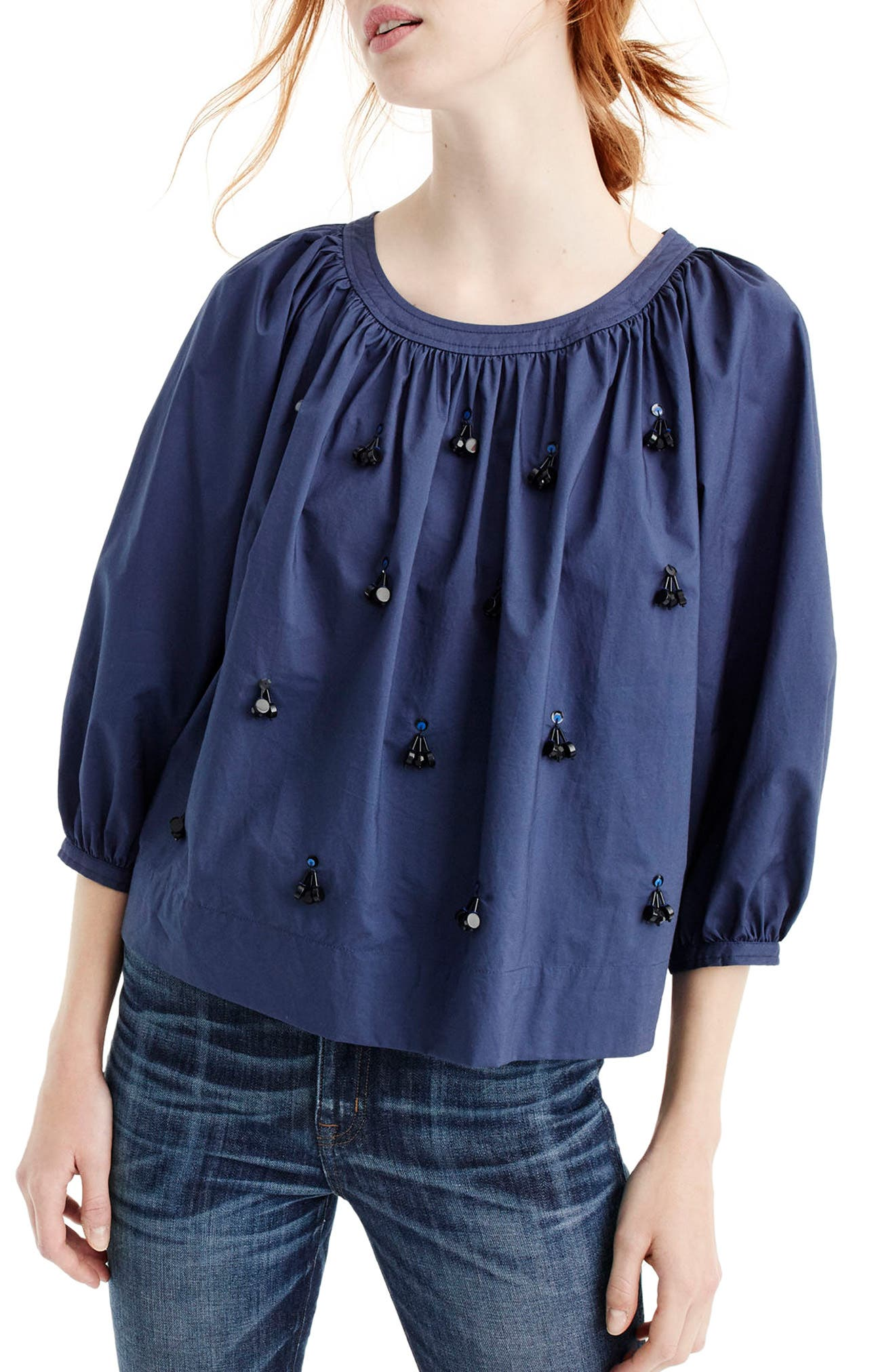 The Perfect Embellished Top,                         Main,                         color, Vintage Indigo