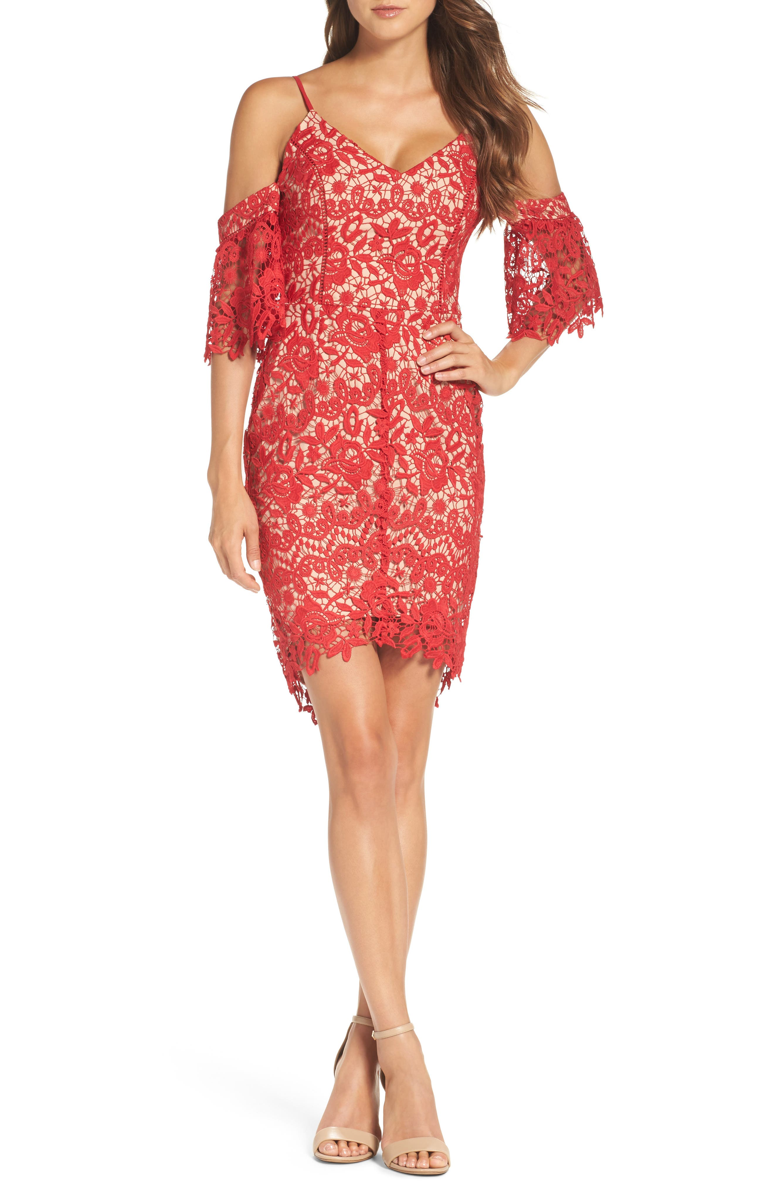 Krista Cold Shoulder Lace Sheath Dress,                         Main,                         color, Red/ Nude