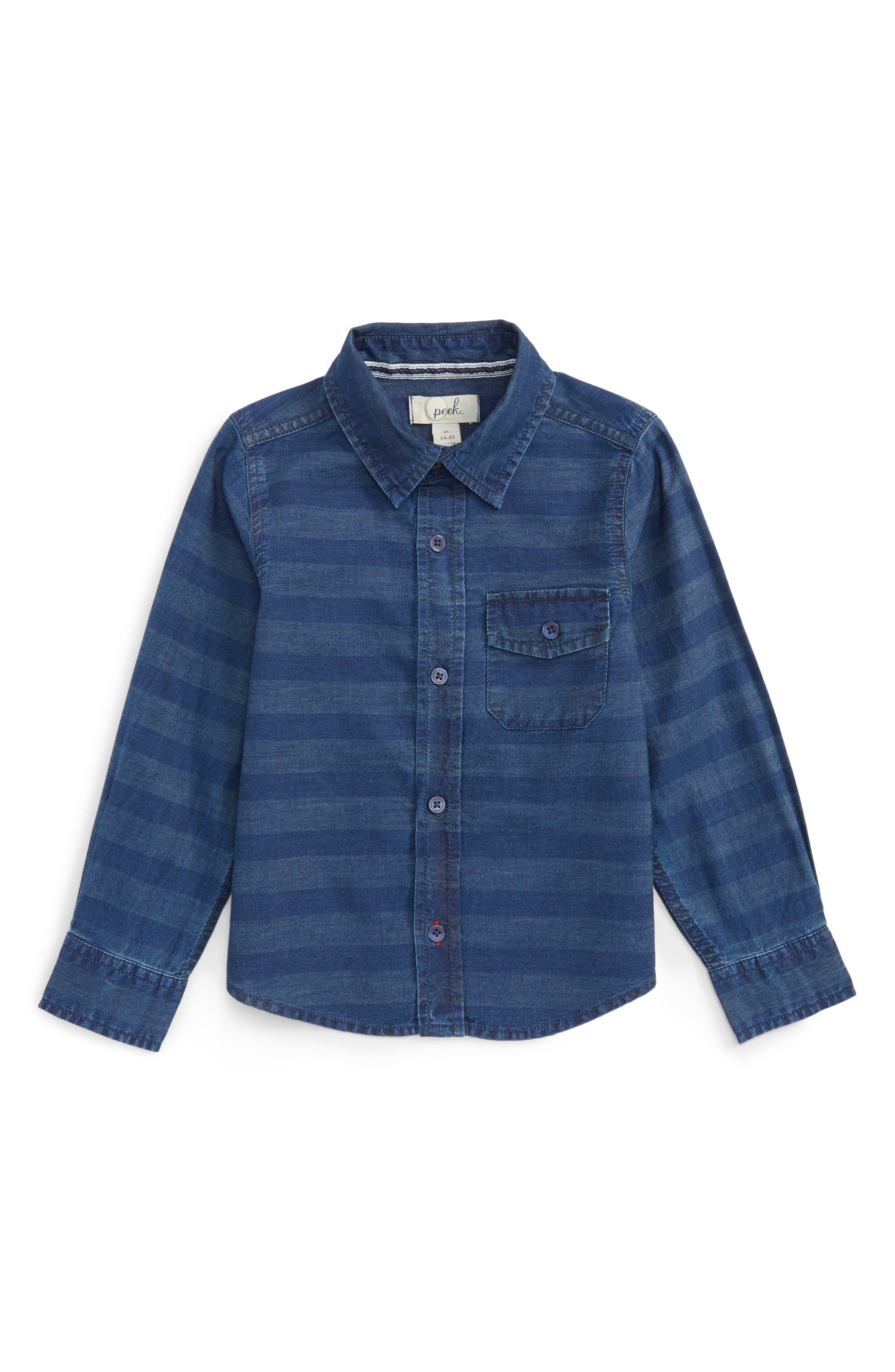 Aiden Stripe Chambray Shirt,                             Main thumbnail 1, color,                             Indigo