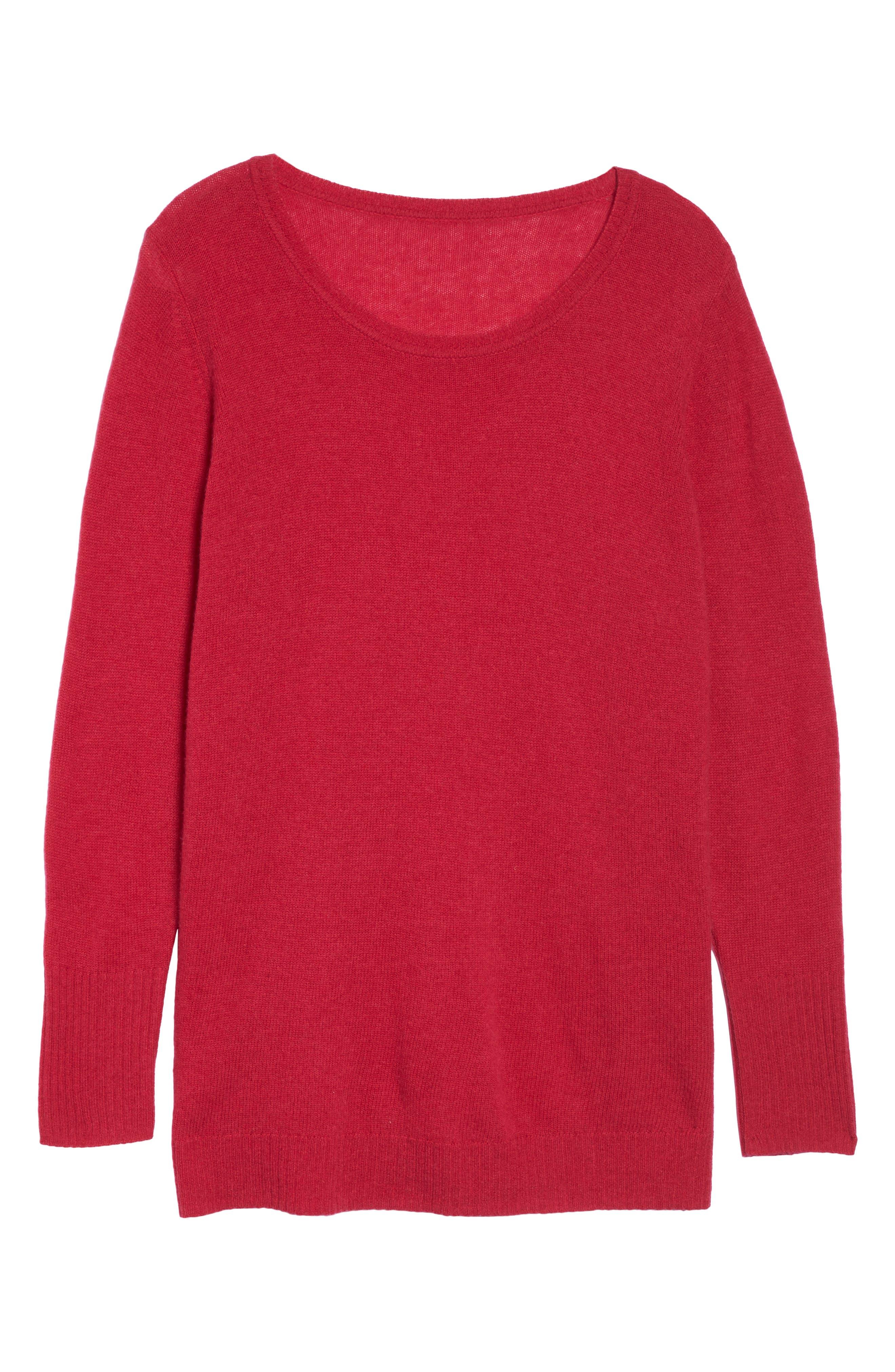 Alternate Image 6  - Sejour Crewneck Side Split Wool & Cashmere Pullover (Plus Size)