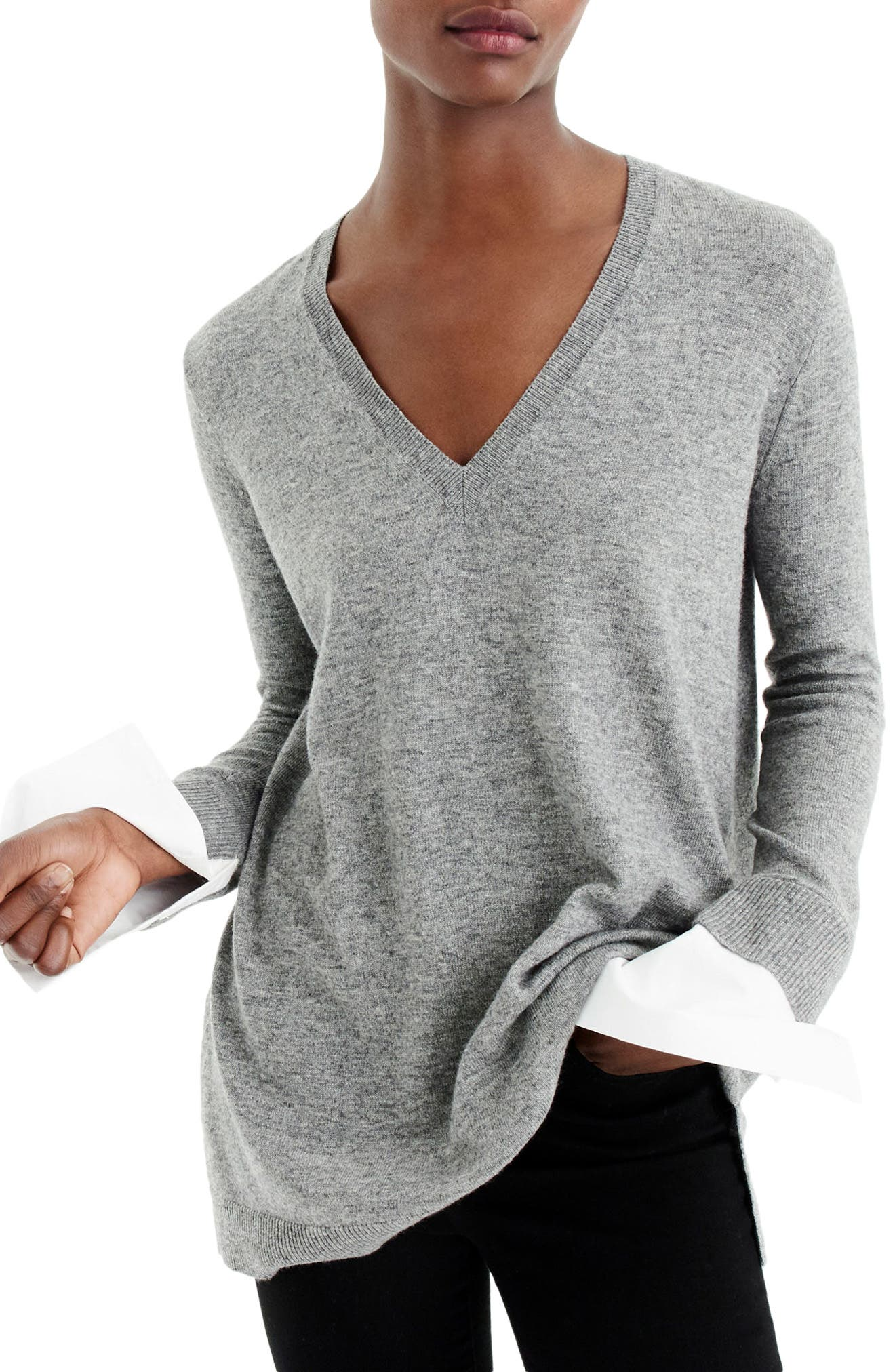 V-Neck Sweater with Shirt Cuffs,                         Main,                         color, Heather Pewter