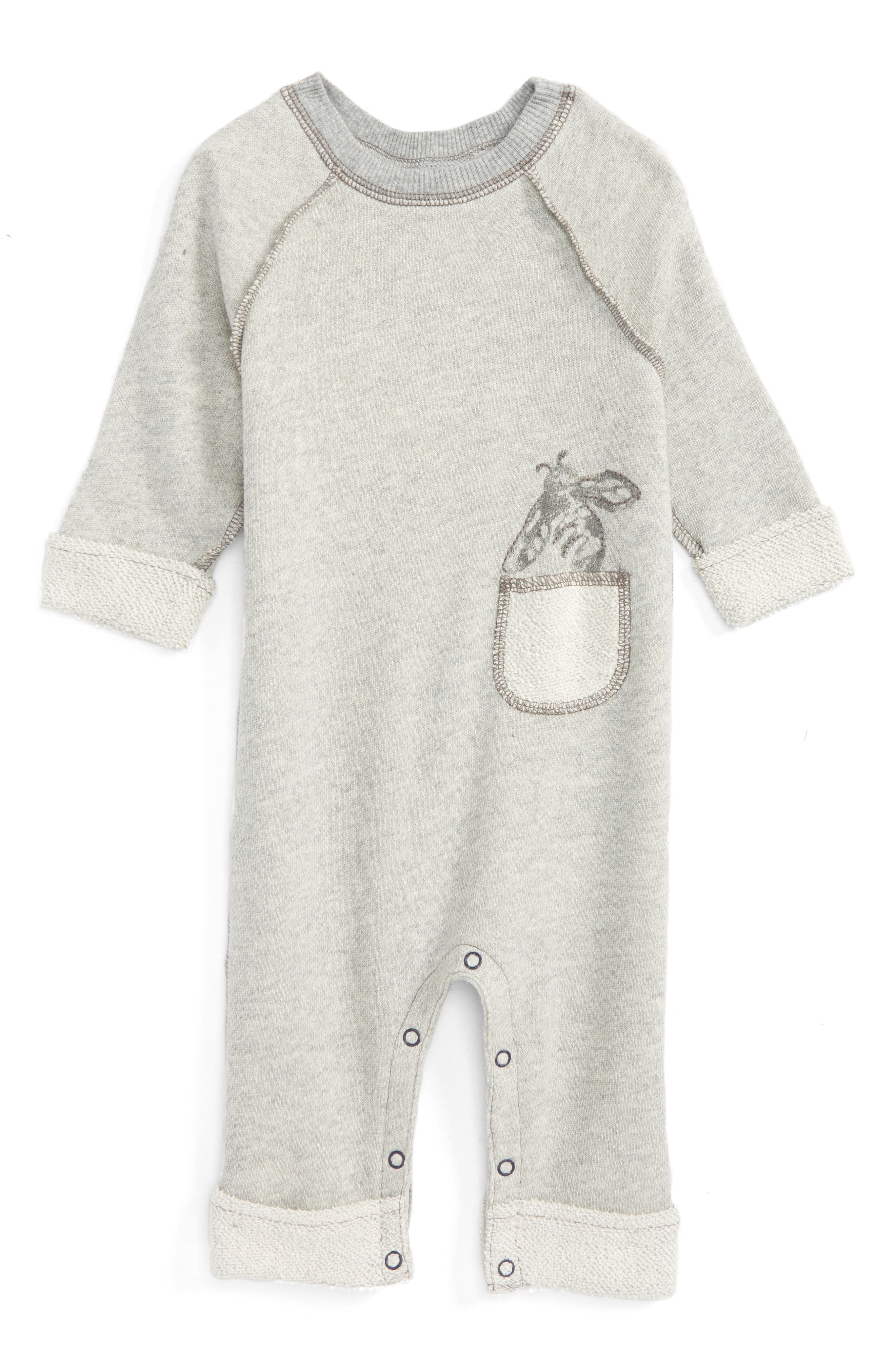 Organic Cotton Terry Romper,                         Main,                         color, Heather Grey