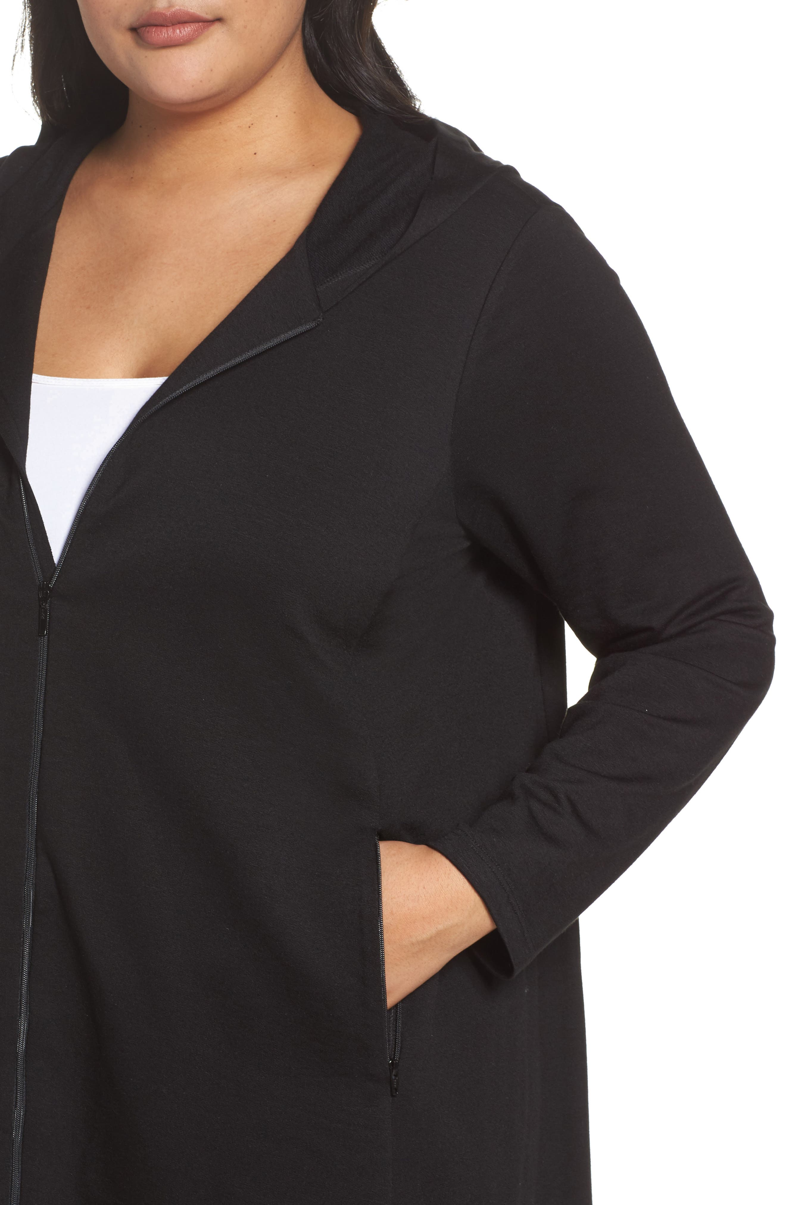 Alternate Image 4  - Eileen Fisher Stretch Hooded Jacket (Plus Size)