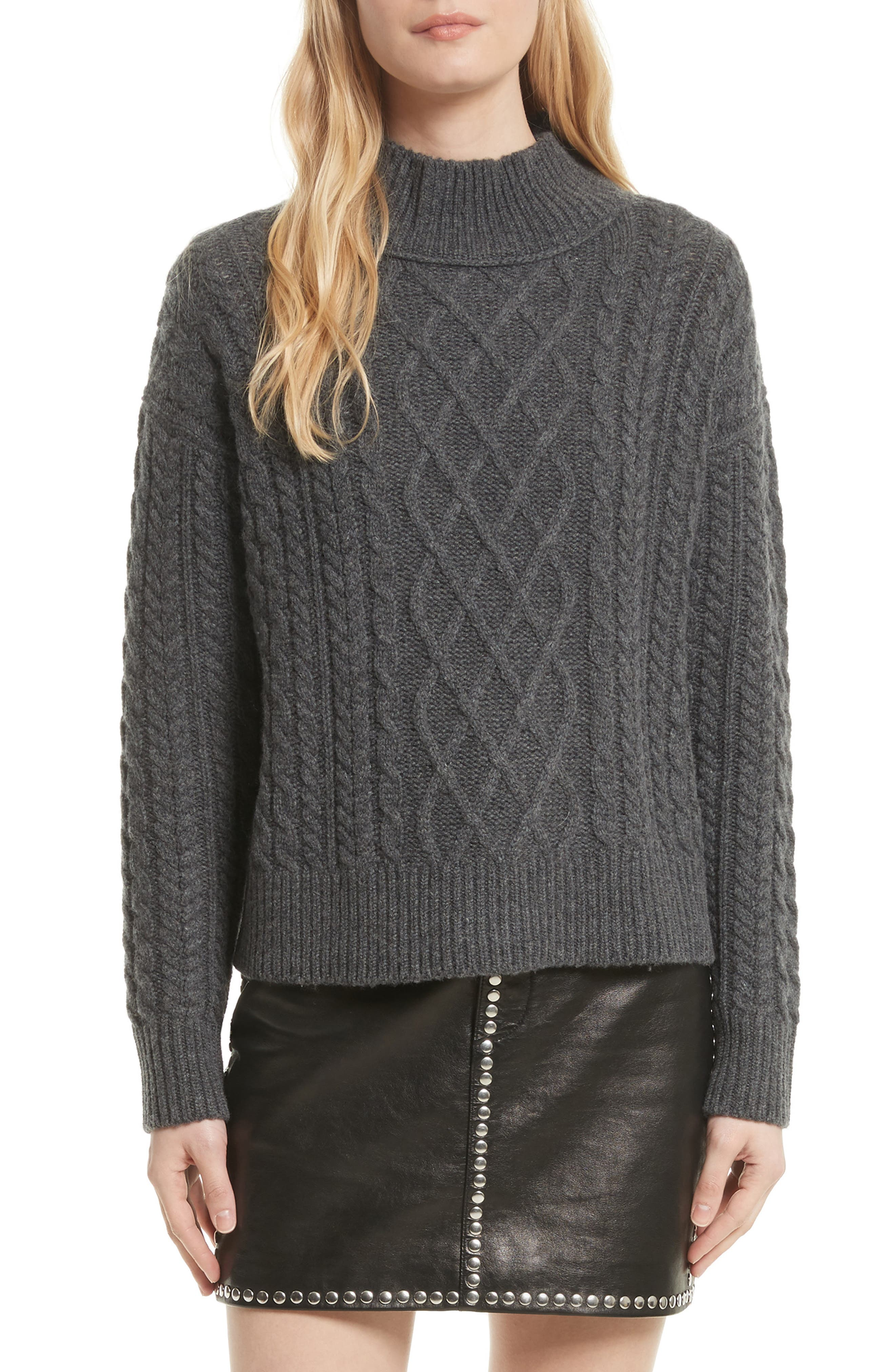 Wool & Cashmere Cable Knit Crop Sweater,                         Main,                         color, Charcoal