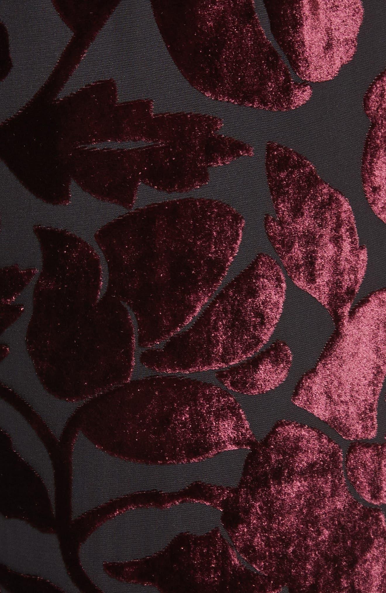 Velvet Floral Burnout Pants,                             Alternate thumbnail 6, color,                             Fig/ Caviar