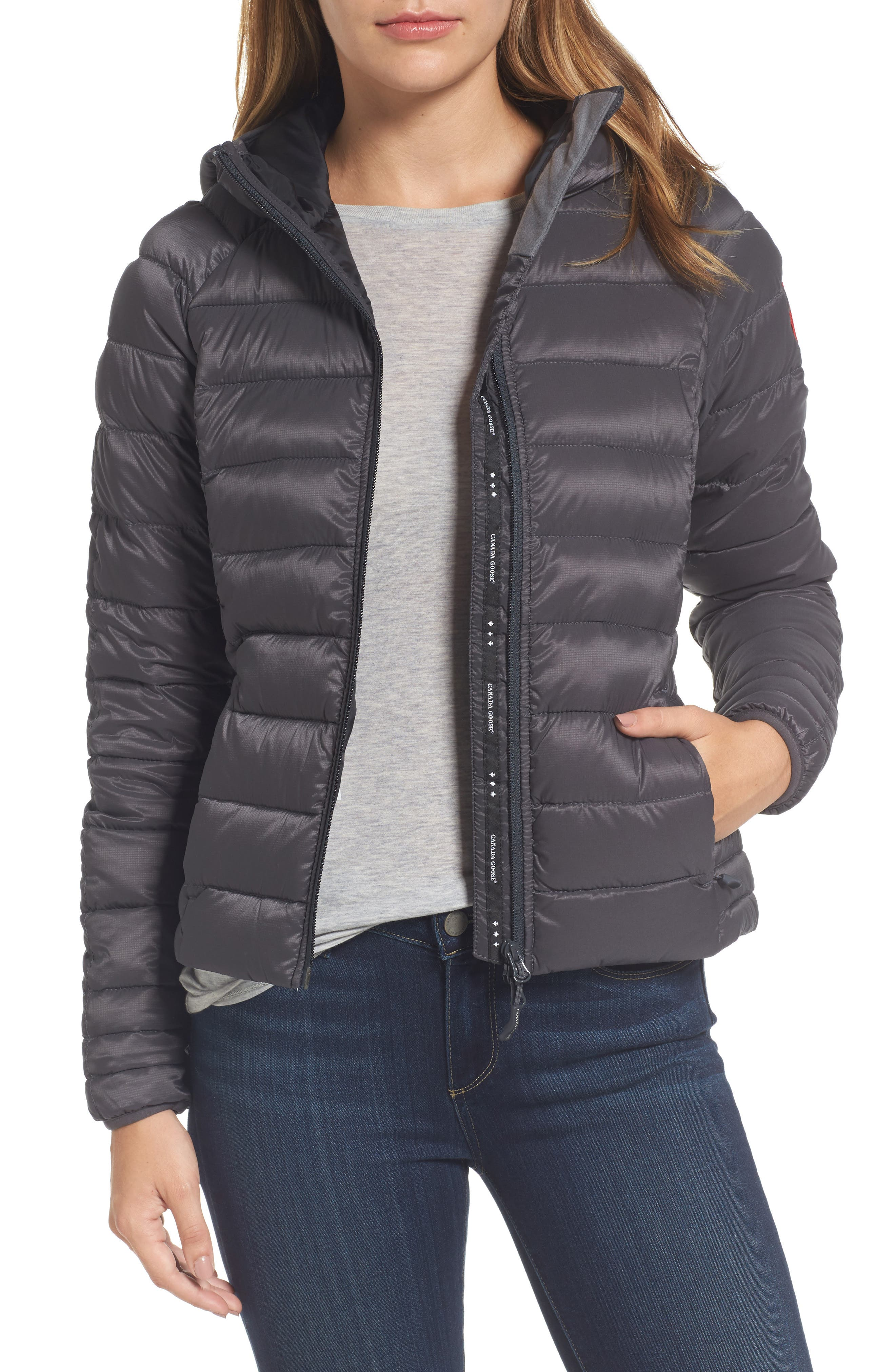 'Brookvale' Packable Hooded Quilted Down Jacket,                             Main thumbnail 1, color,                             Graphite/ Black