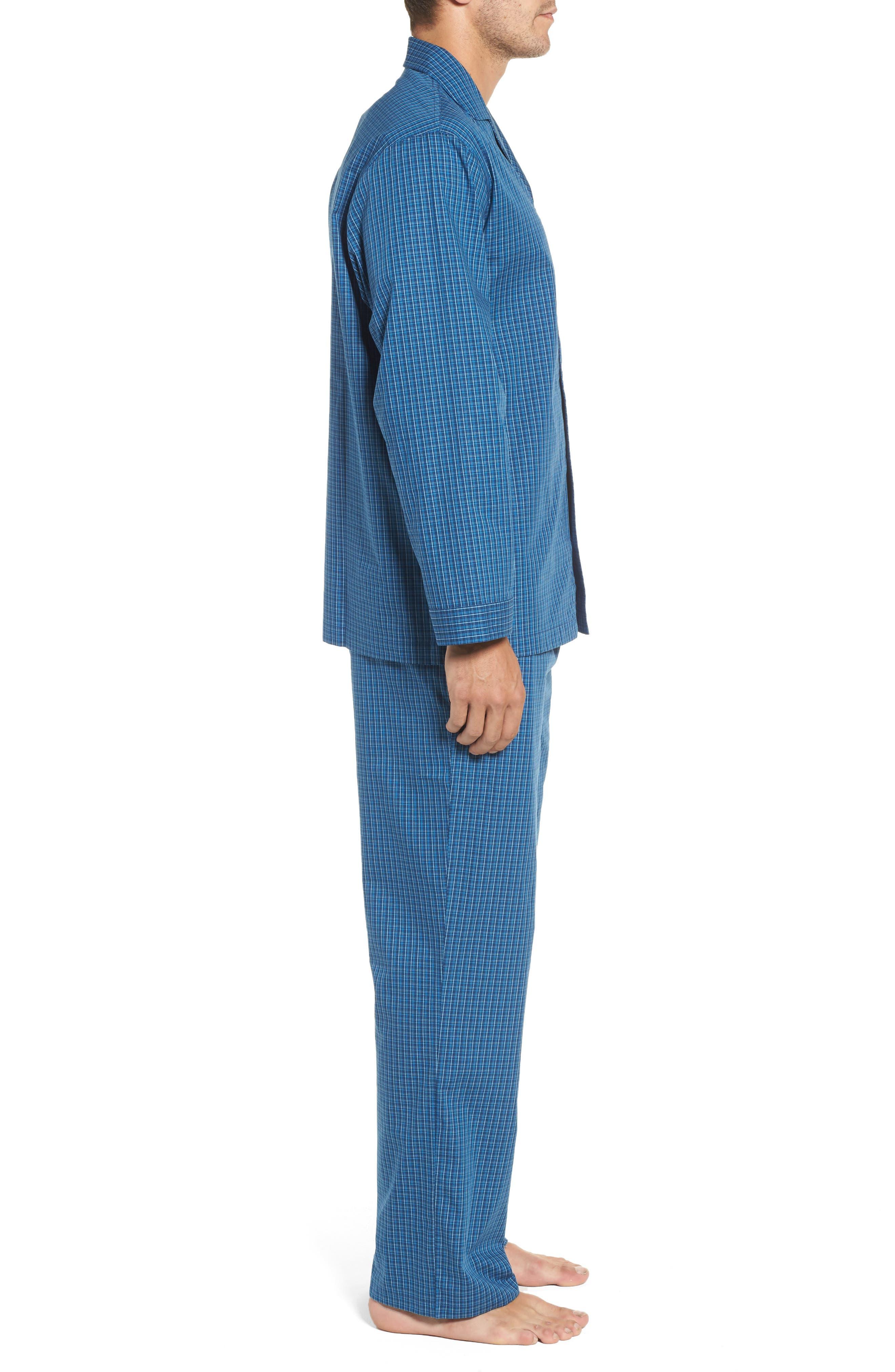 Poplin Pajama Set,                             Alternate thumbnail 3, color,                             Navy Medieval- Blue Plaid