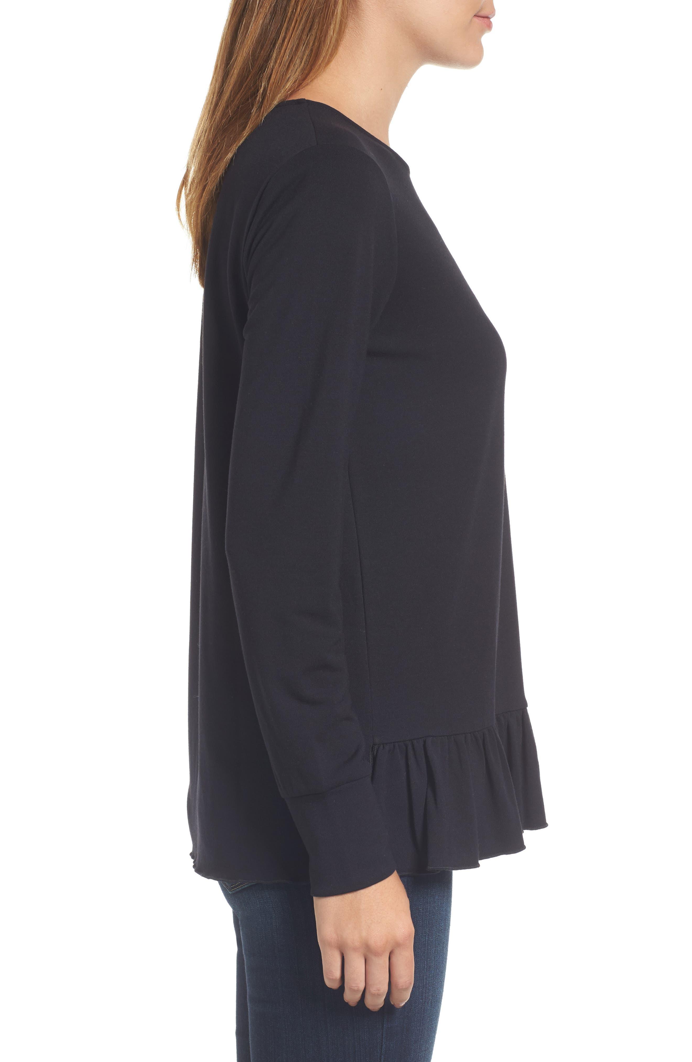 Alternate Image 3  - Halogen® Ruffle Hem Sweatshirt (Regular & Petite)