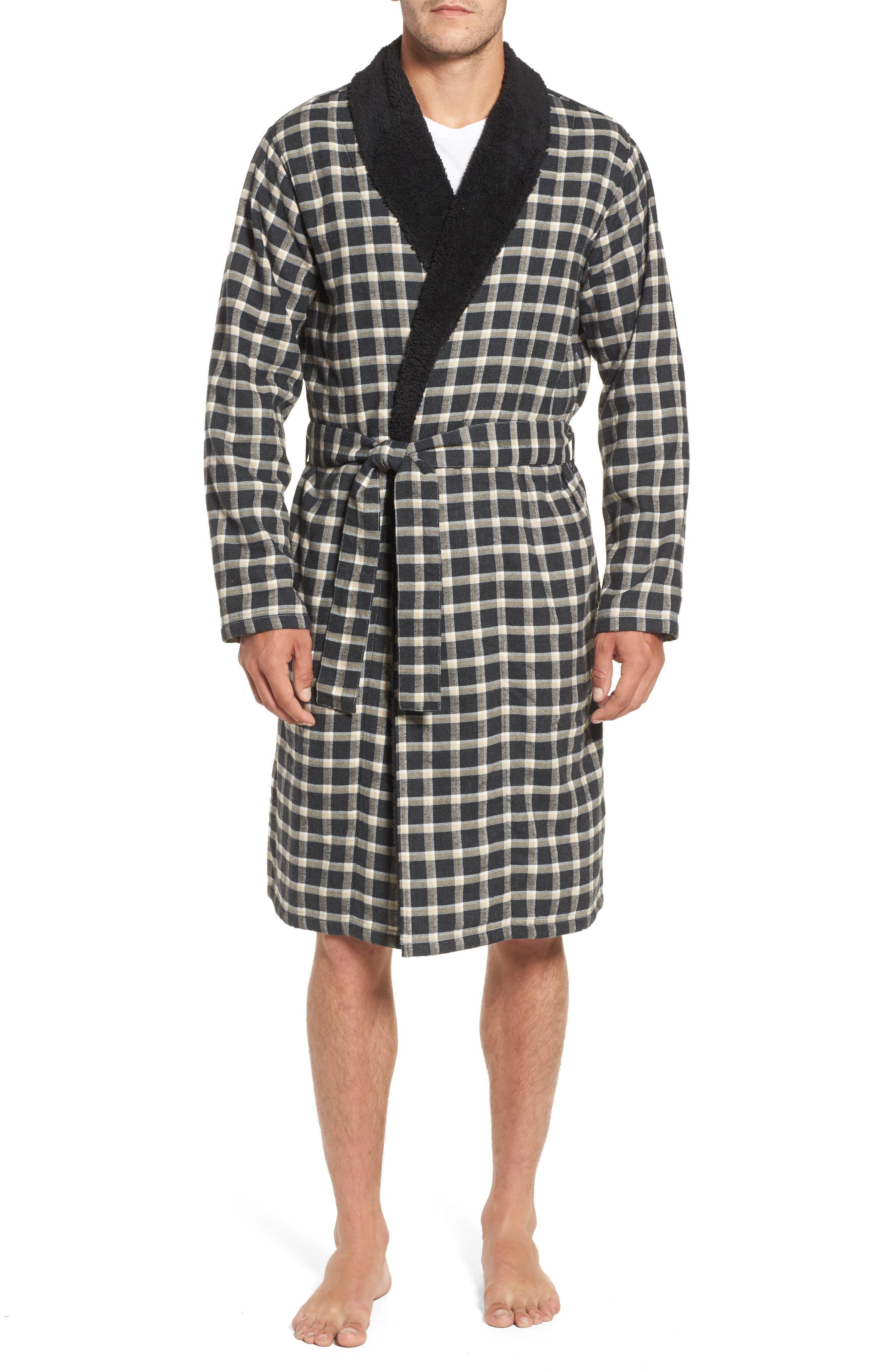 Kalib Plaid Flannel Robe,                             Main thumbnail 1, color,                             Black