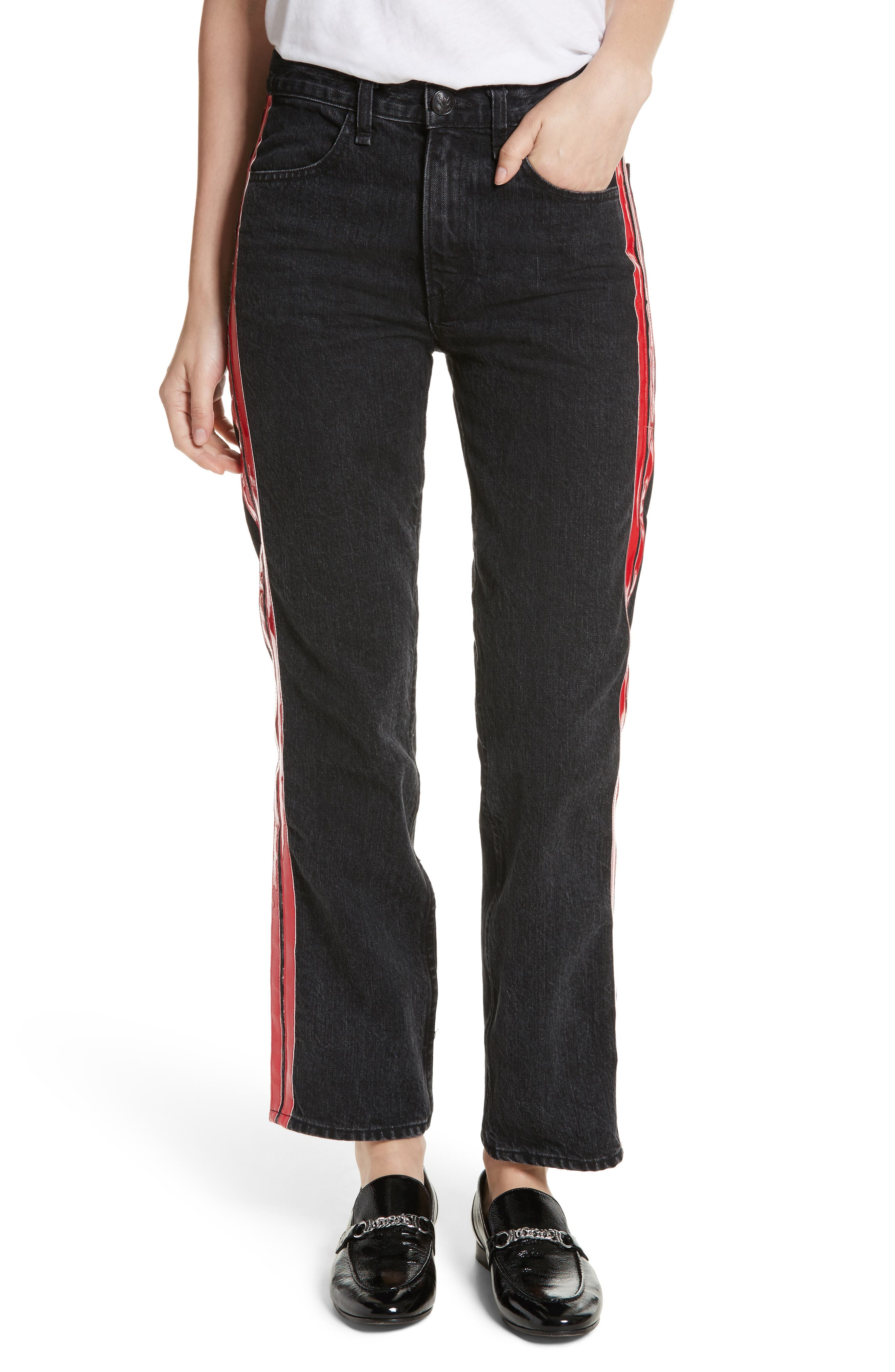 High Waist Straight Leg Jeans,                         Main,                         color, Washed Black