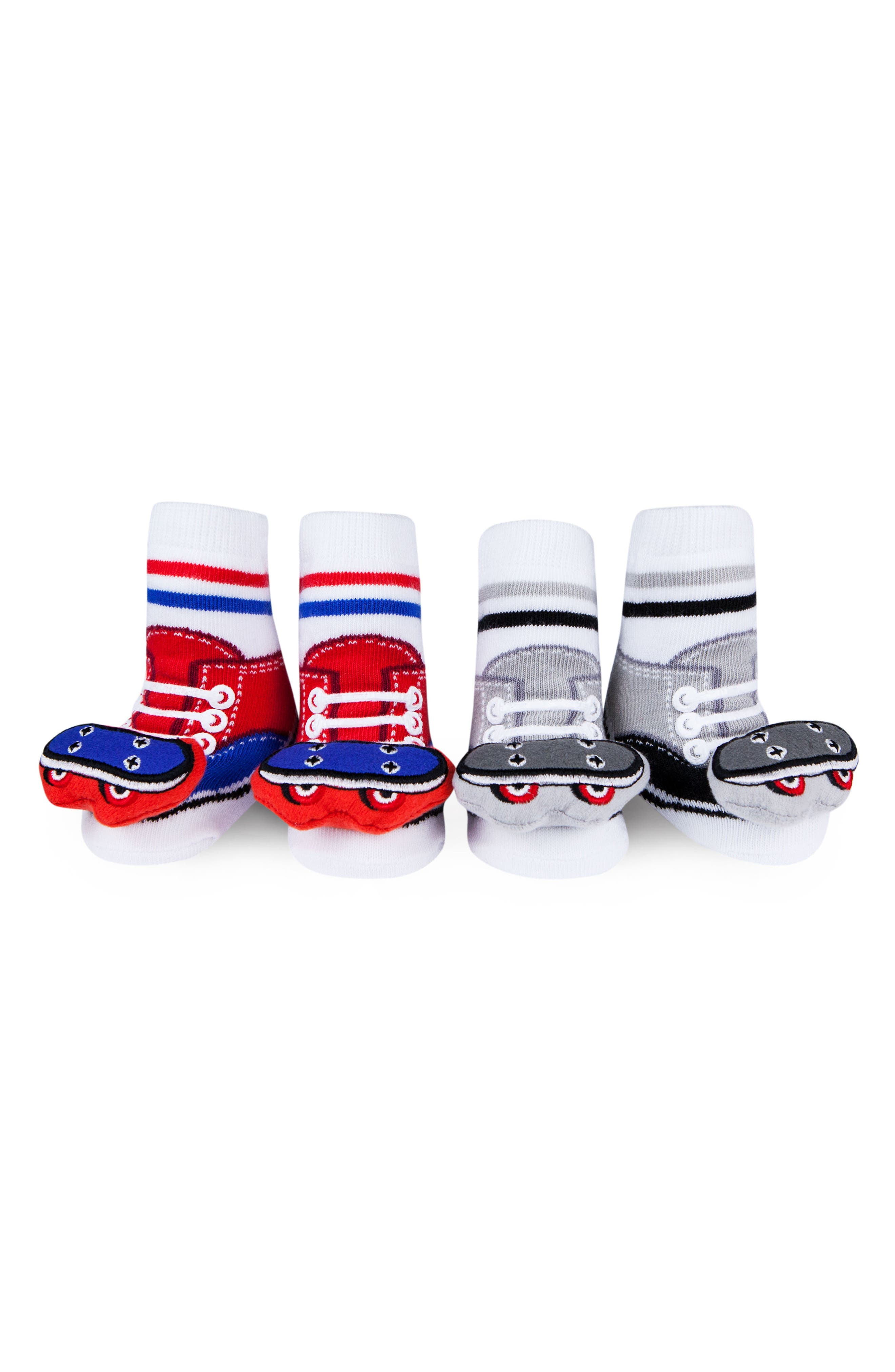 2-Pack Skateboard Rattle Socks,                             Main thumbnail 1, color,                             Red/ Grey