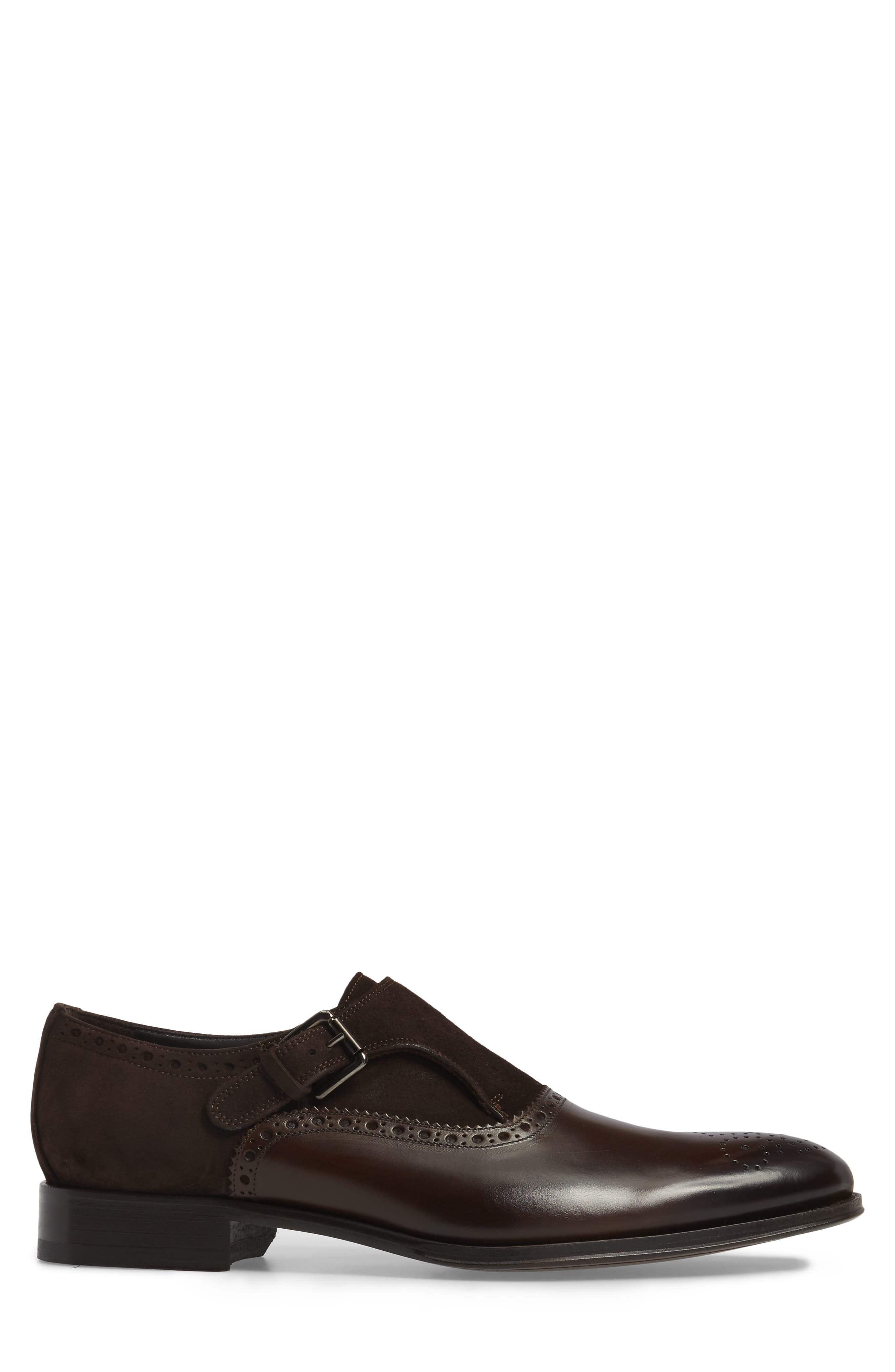 Arcadia Monk Strap Shoe,                             Alternate thumbnail 3, color,                             Brown Leather/ Suede