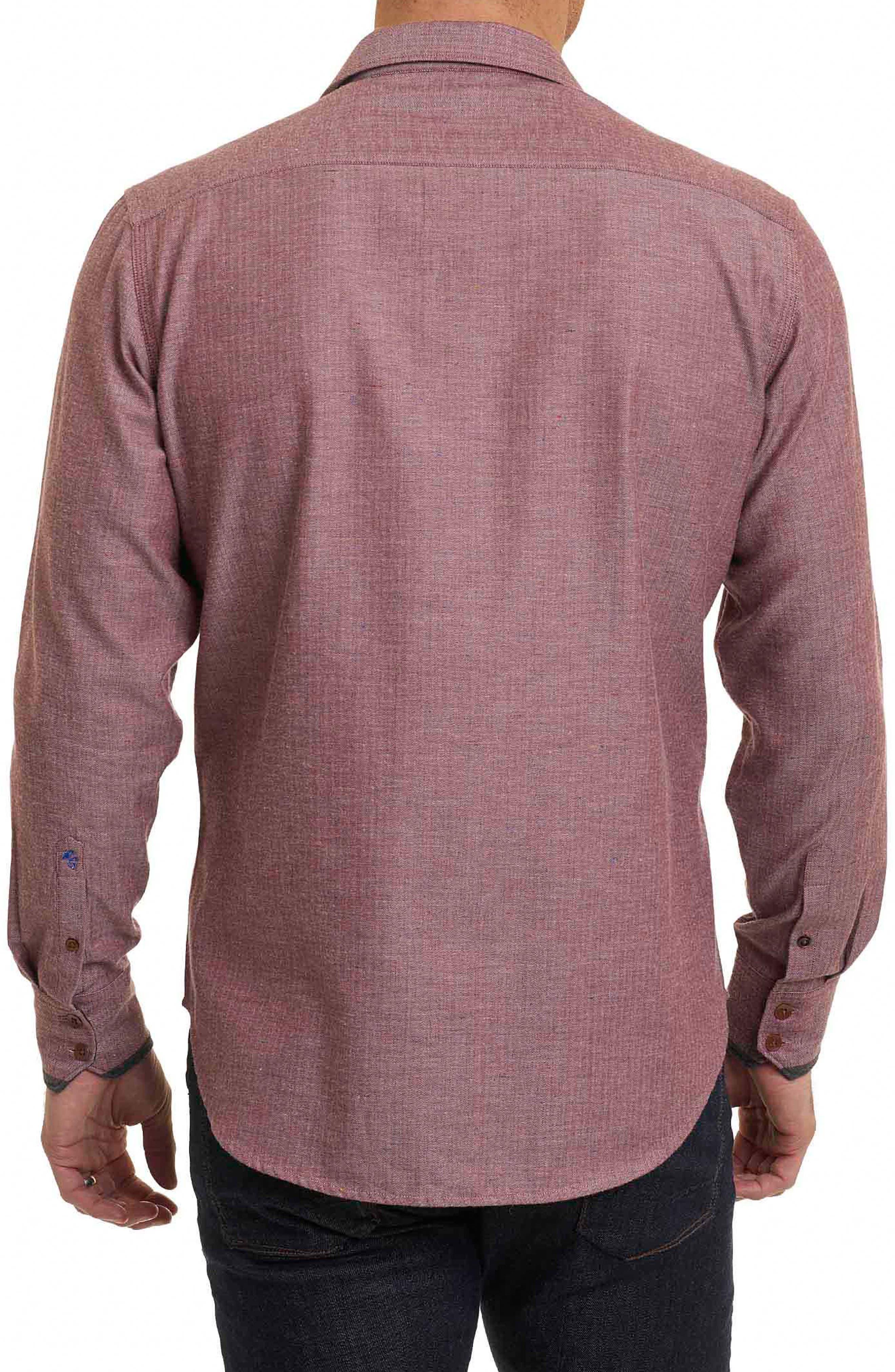 Upstate Classic Fit Herringbone Sport Shirt,                             Alternate thumbnail 3, color,                             Red