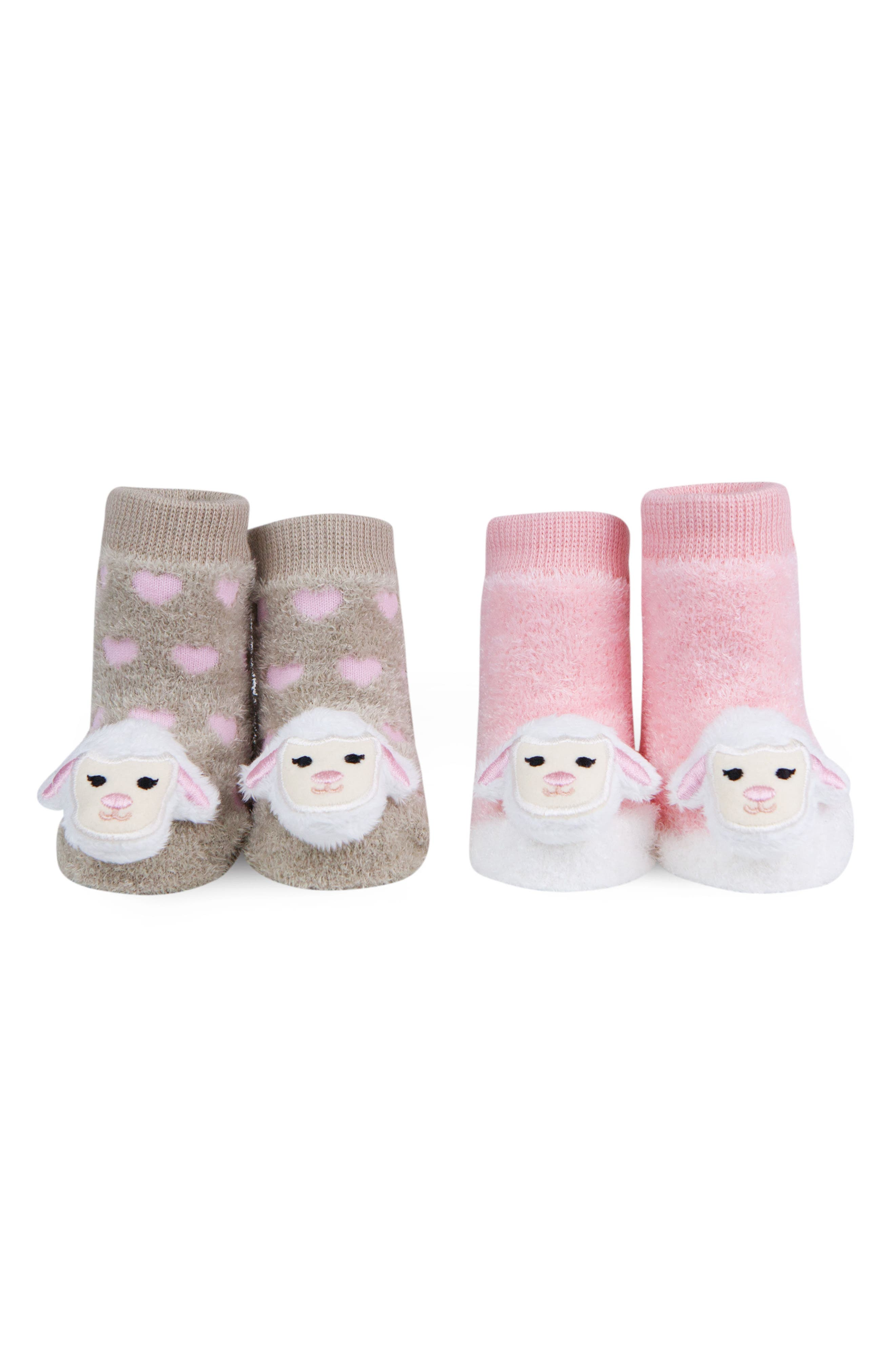 & Friends Lamb 2-Pack Rattle Socks,                             Main thumbnail 1, color,                             Pink/ Light Brown