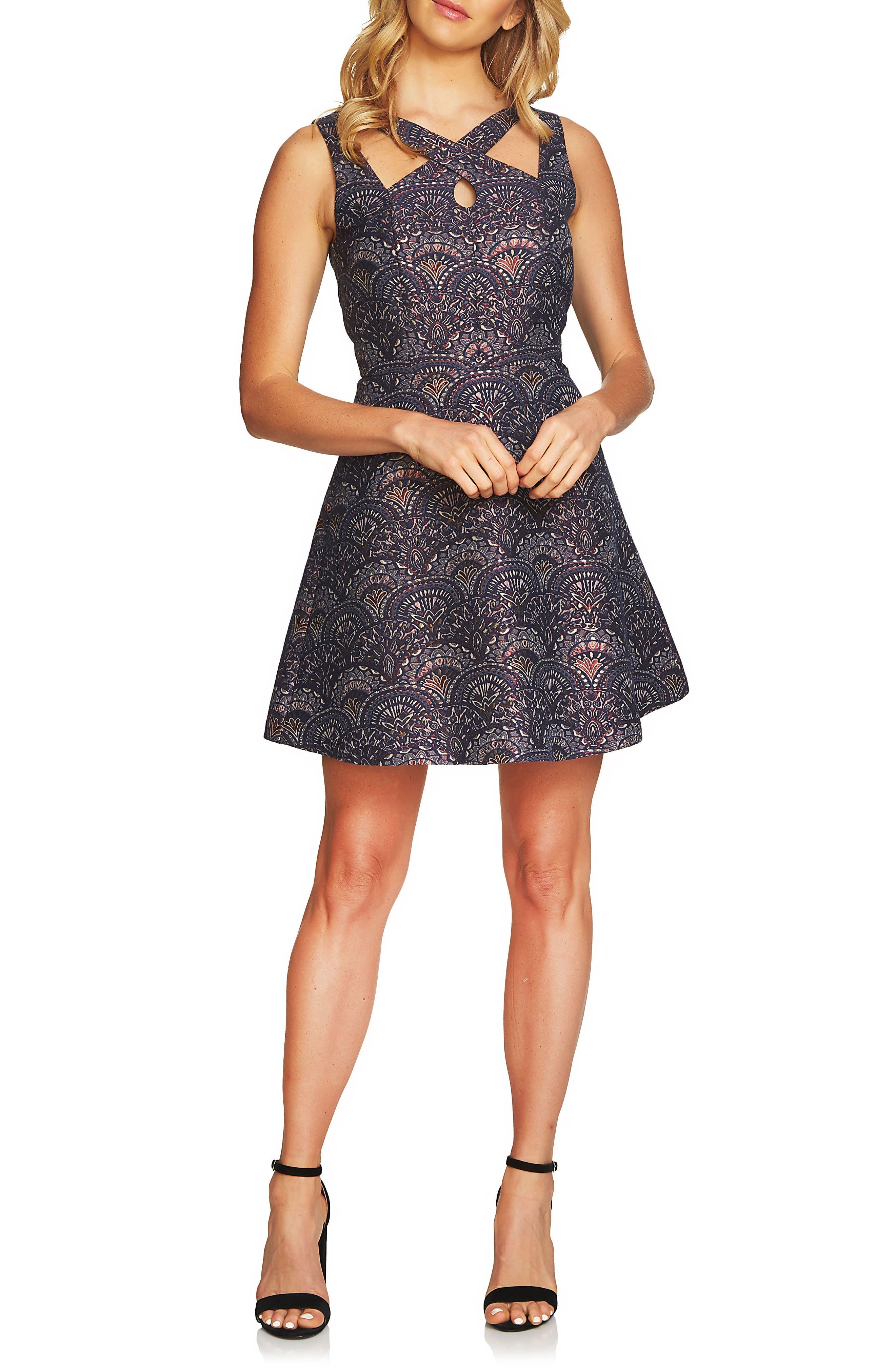 Lisa Jacquard Fit & Flare Dress,                             Main thumbnail 1, color,                             Hale Navy