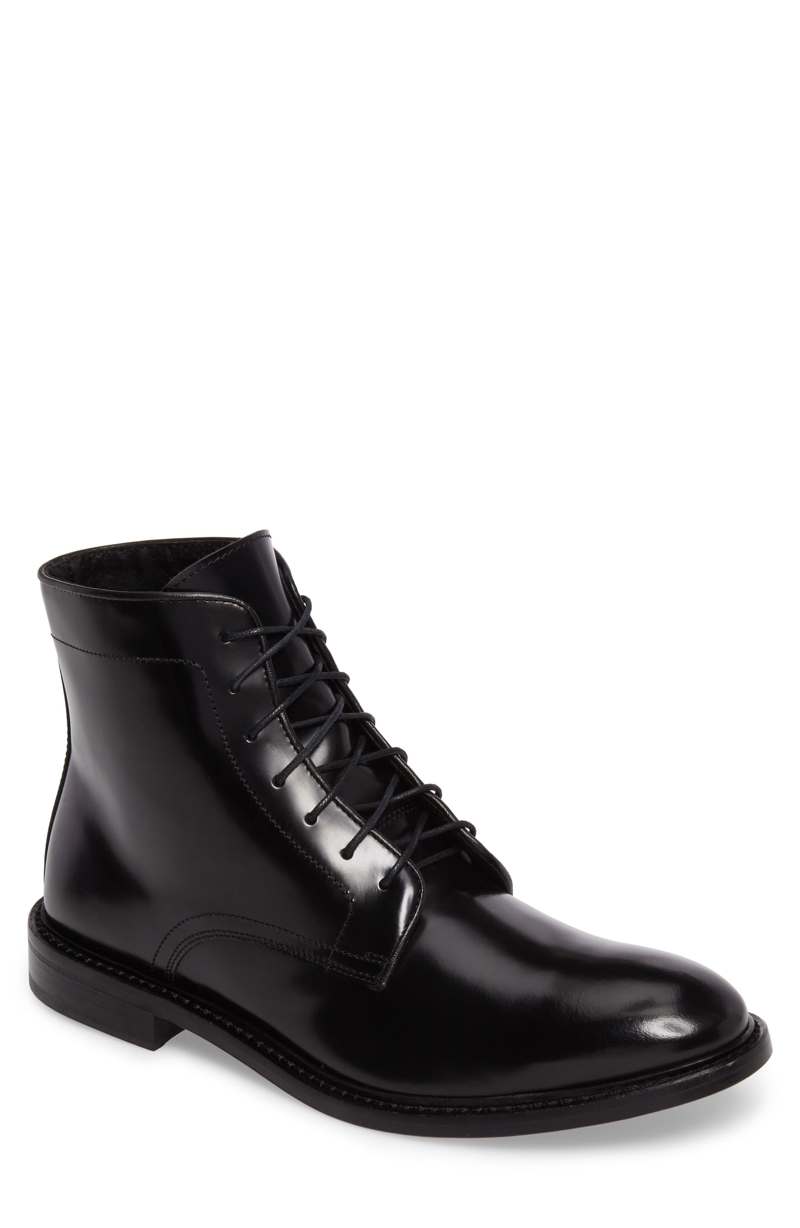 Plain Toe Boot,                         Main,                         color, Black Leather